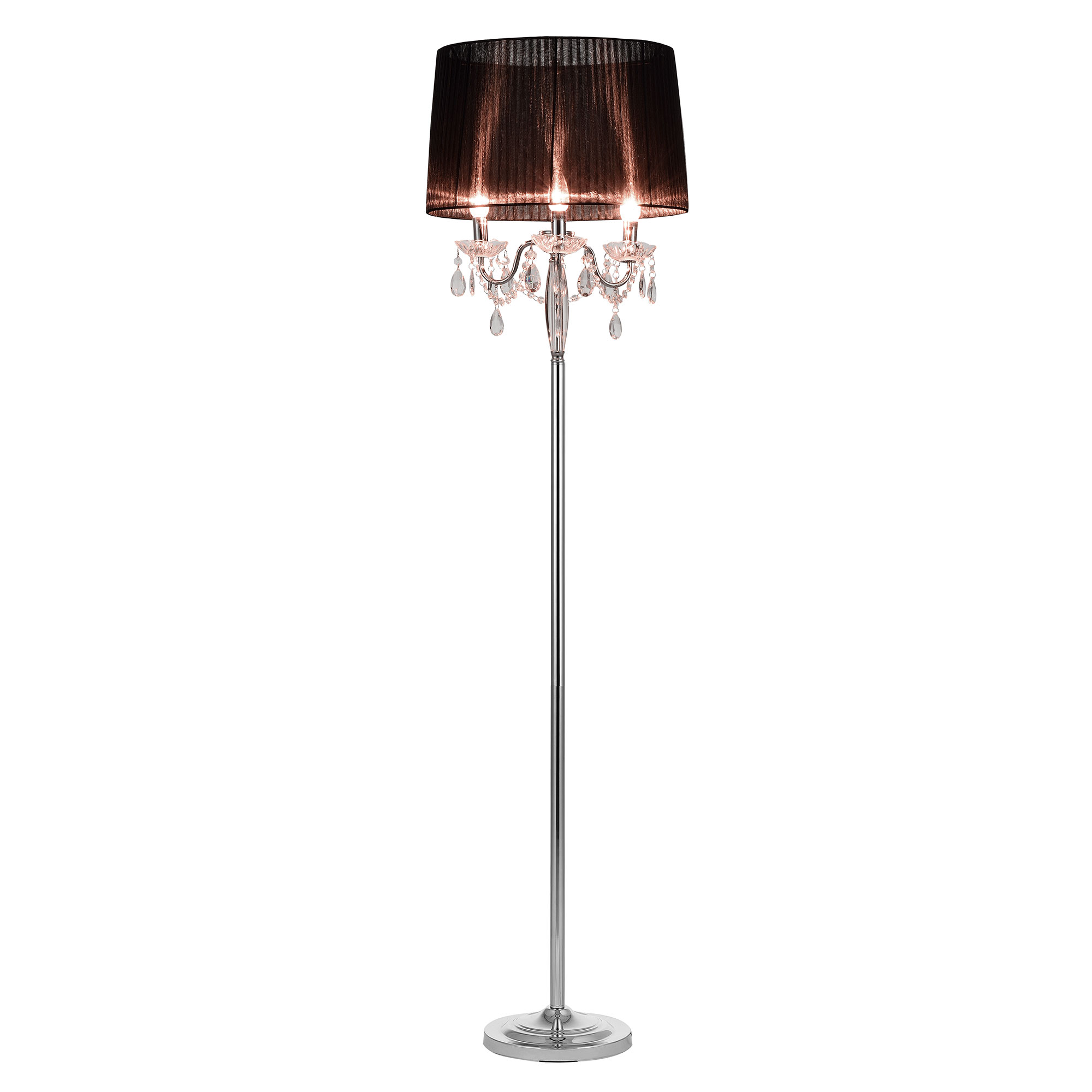 [lux.pro]® Lampa de podea eleganta – Noble Black 3 x E 14 – 40W – negru / crom