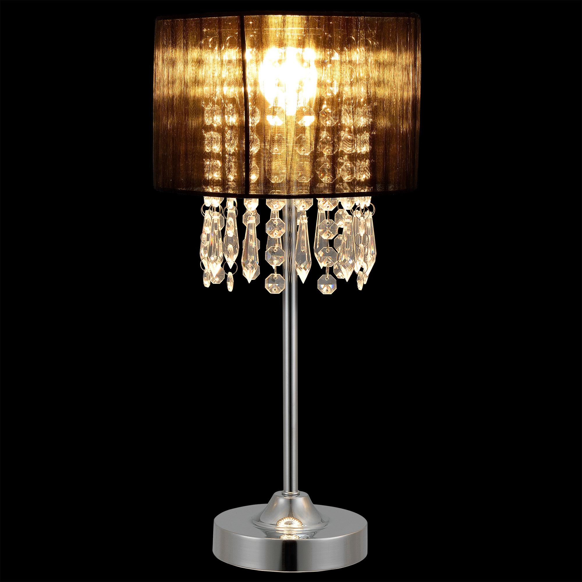 tischleuchte schwarz 55 cm x 20 cm tischlampe kristall textil lampe ebay. Black Bedroom Furniture Sets. Home Design Ideas
