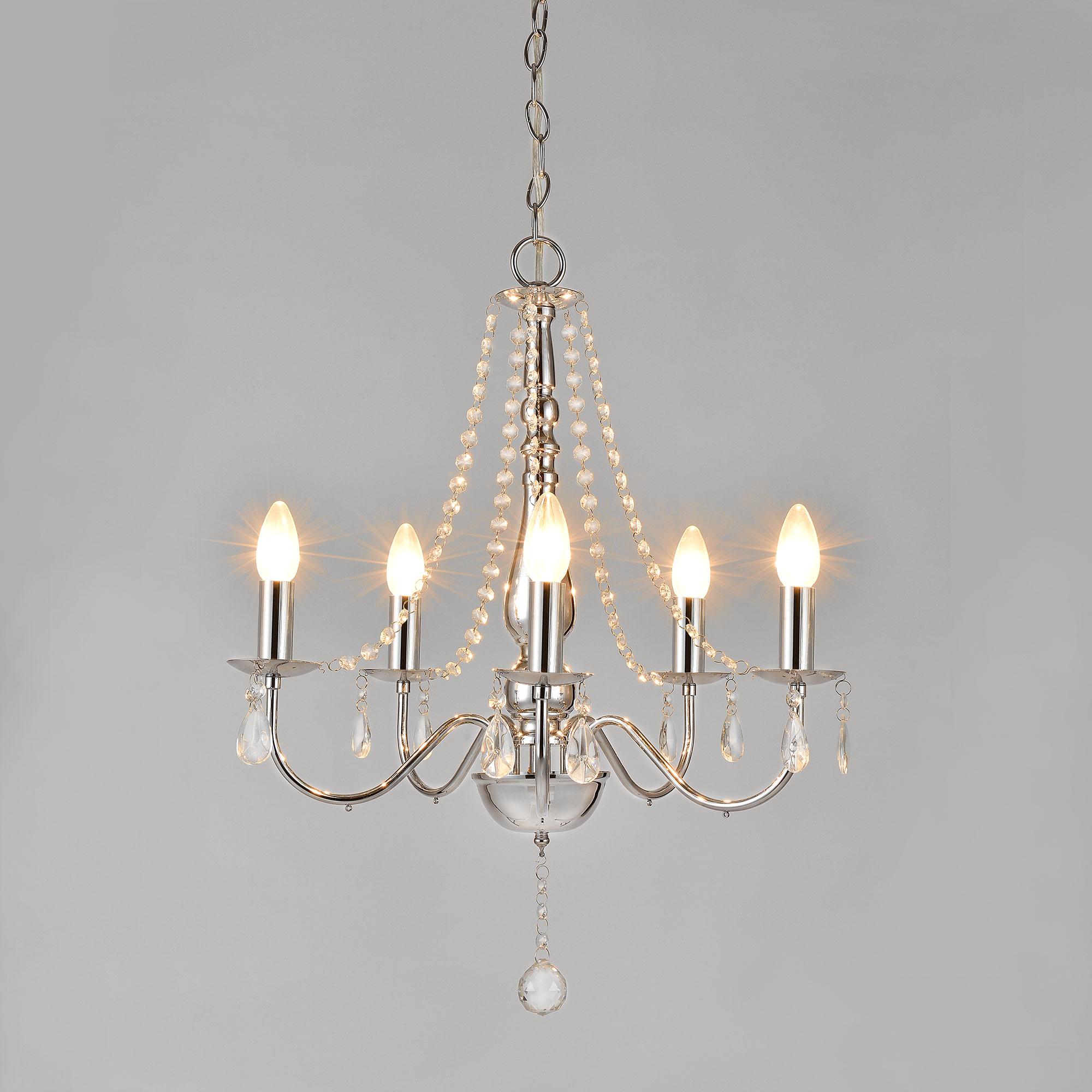 moderne plafonnier en cristal lustre suspensions 5 flammig lustre lampe ebay. Black Bedroom Furniture Sets. Home Design Ideas