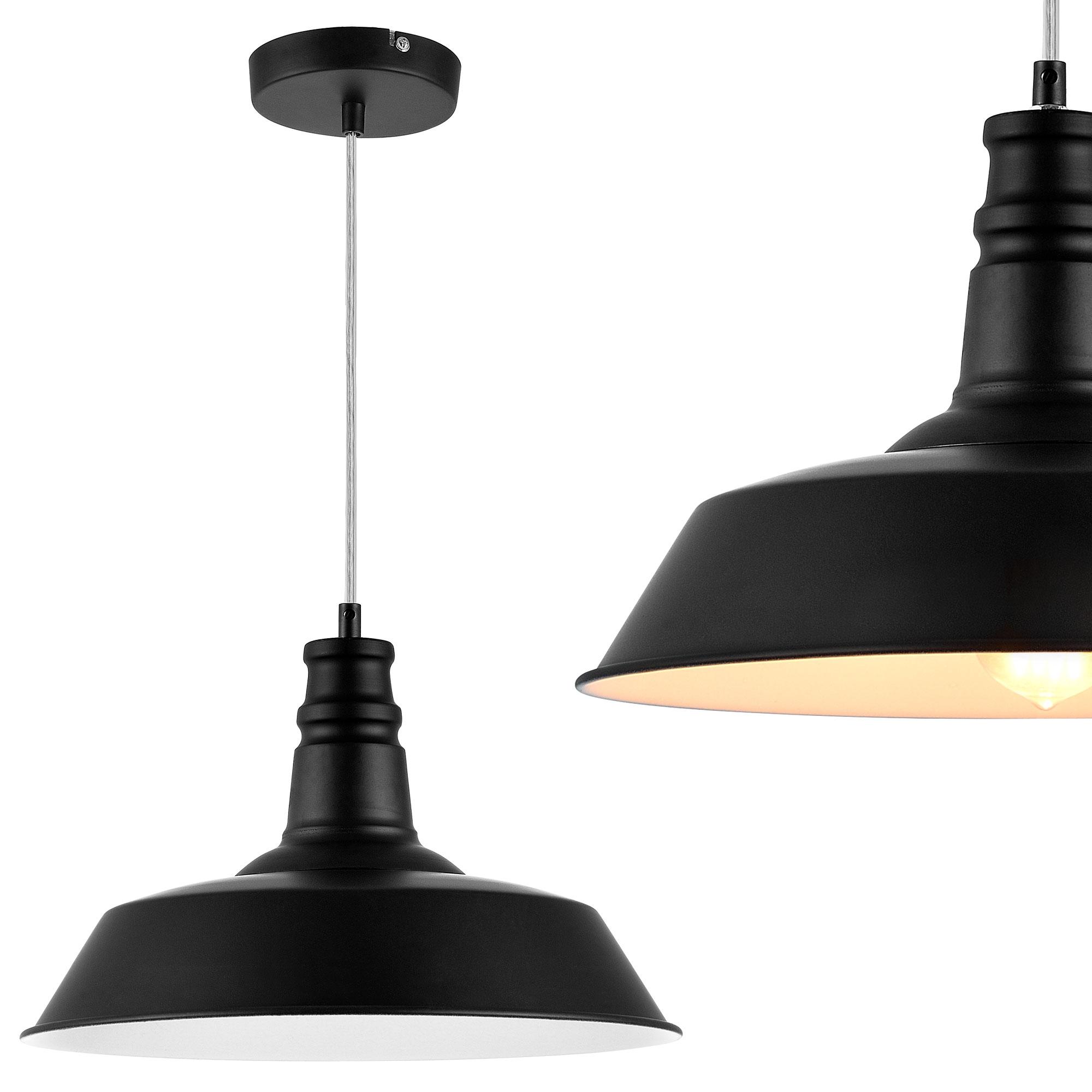 Plafonnier m tal noir 36cm suspensions lumi re for Lumiere suspendu