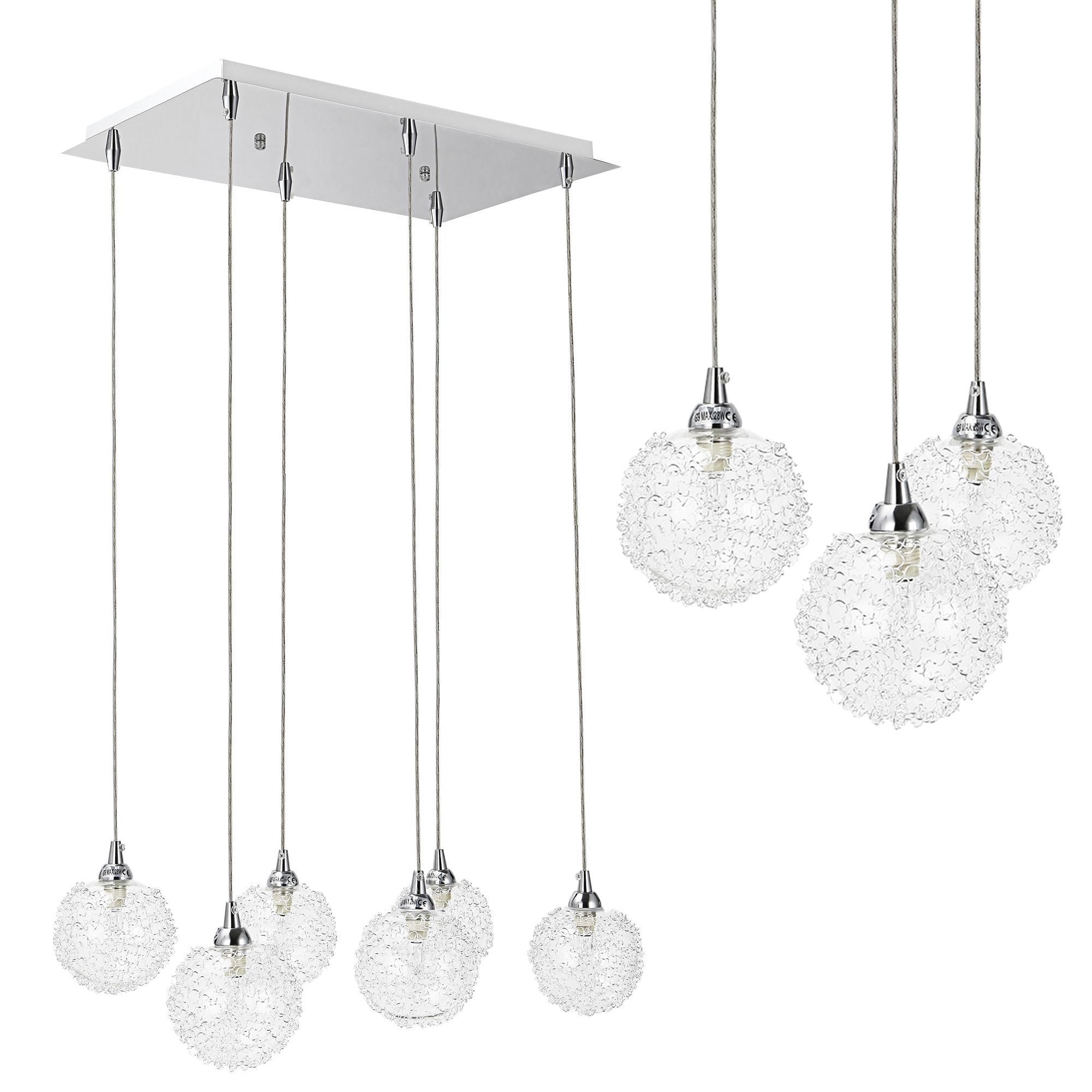 [lux.pro]® Dekoratívní designové závěsné svítidlo / stropní svítidlo - chromovo-stříbrné (6 x G9)