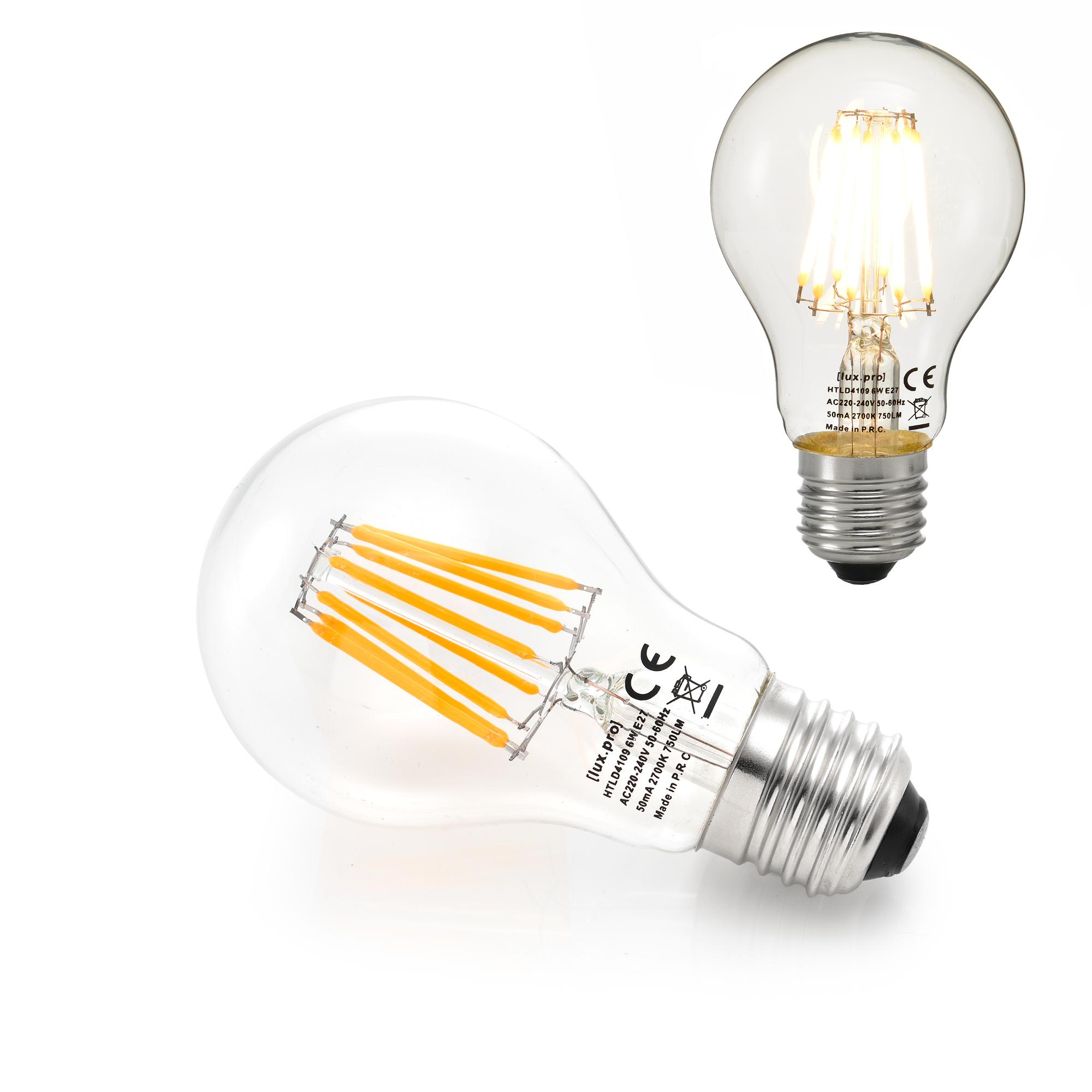 10x led e27 warmwei lampe filament 6w 750lm. Black Bedroom Furniture Sets. Home Design Ideas