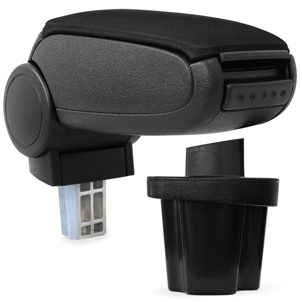 Středová loketní opěrka - vhodná pro: Hyundai Accent od 2006 - Látkový potah (plochá tkanina) - Černá s černými švy