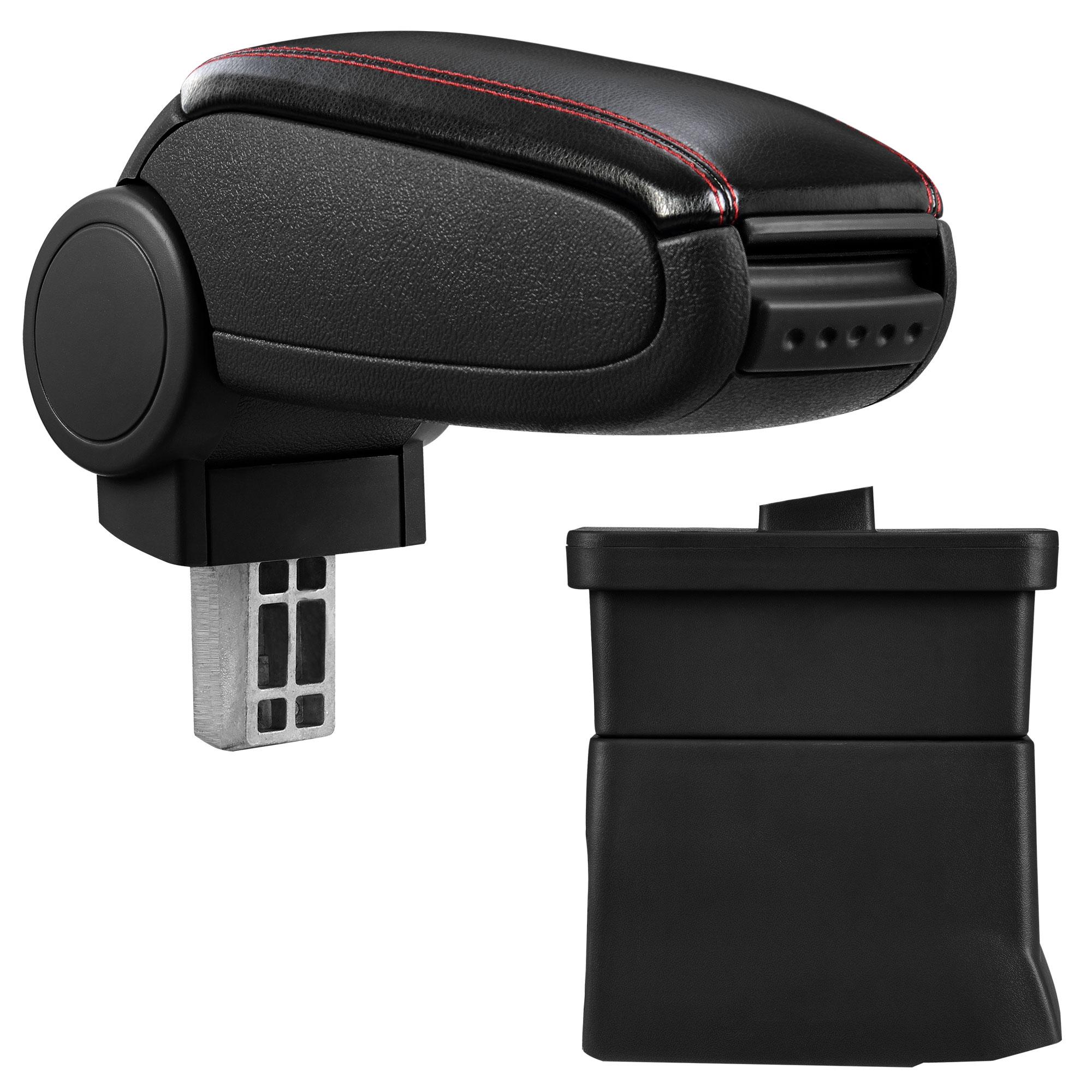Středová loketní opěrka - vhodná pro: Ford Ka od 2009 - umělá kůže - Černá s červenými švy