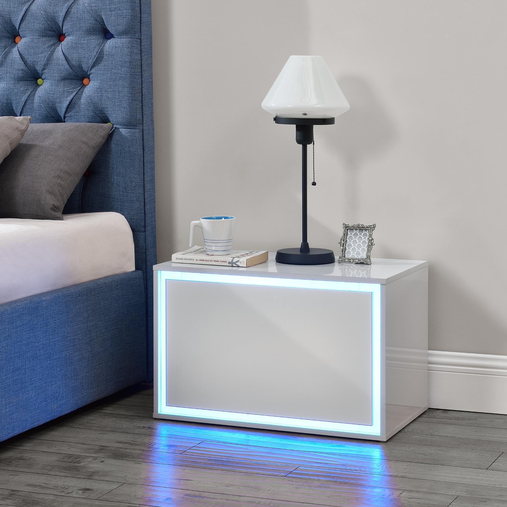 Dettagli su en.casa Comodino camera da Letto a LED 15 Colori dimmerabili  59x36x38cm Bianco