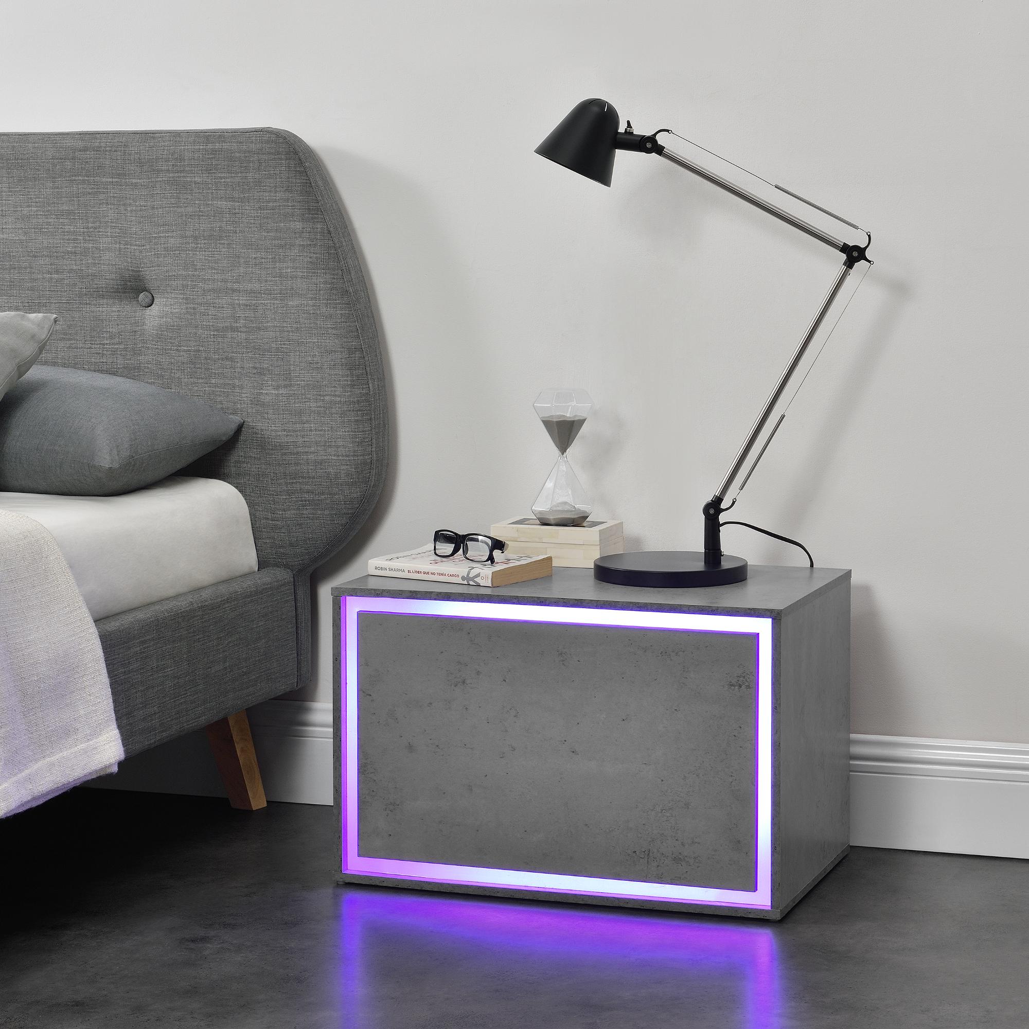 Led Camera Da Letto dettagli su en.casa comodino camera da letto a led 15 colori dimmerabili  59x36x38cm cemento