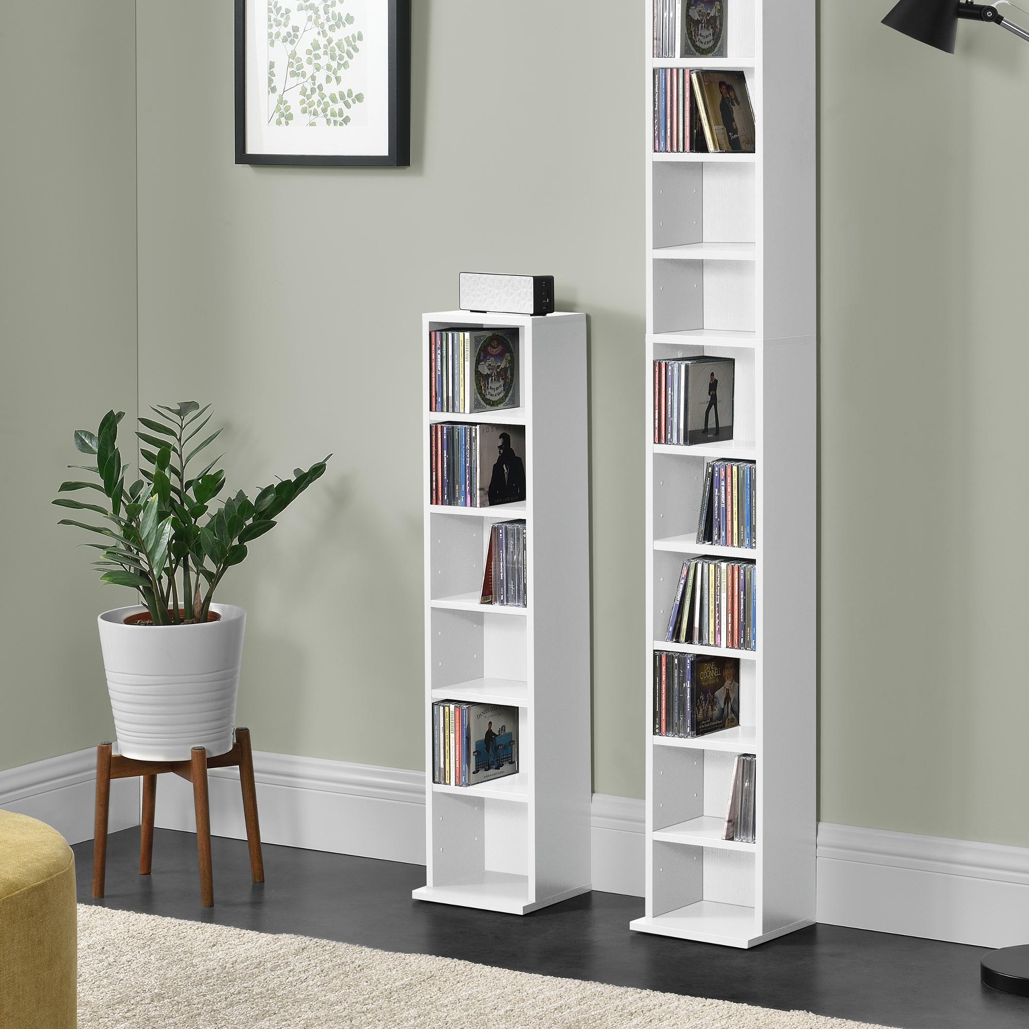 b cherregal cd regal standregal regal aufbewahrung 6 f cher wei ebay. Black Bedroom Furniture Sets. Home Design Ideas