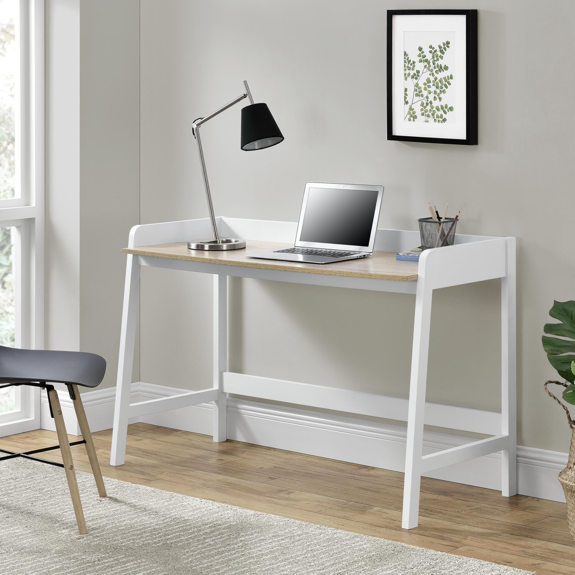 Details Sur En Casa Bureau Table De Bureau Et Mdf Laque Blanc Et Bois 125 X 51 X 80 Cm