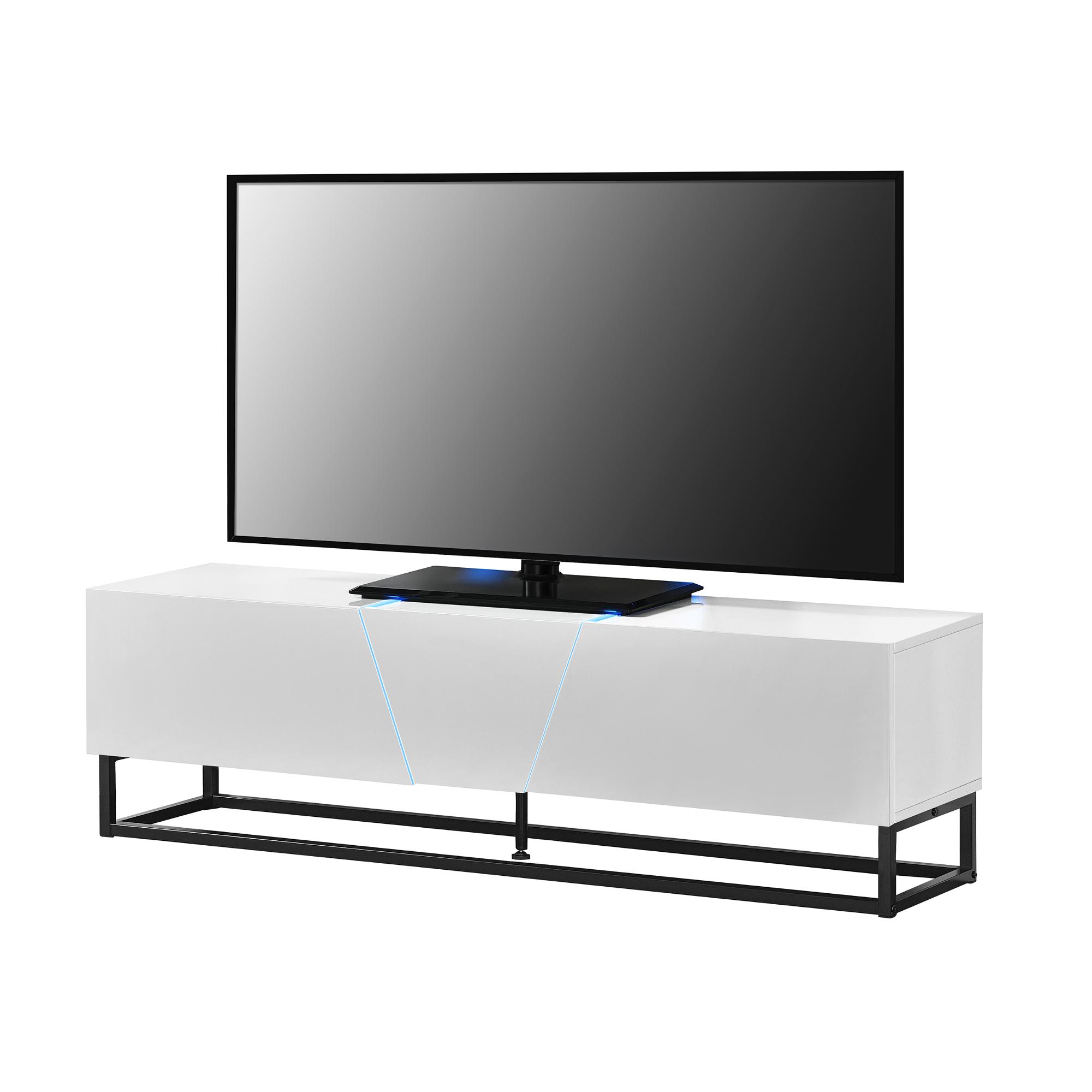 Meuble TV avec /éclairage LED Armoire Basse 140 x 35 x 41 cm avec t/él/écommande 2 Surfaces de Stockage MDF et M/étal Blanc en.CASA