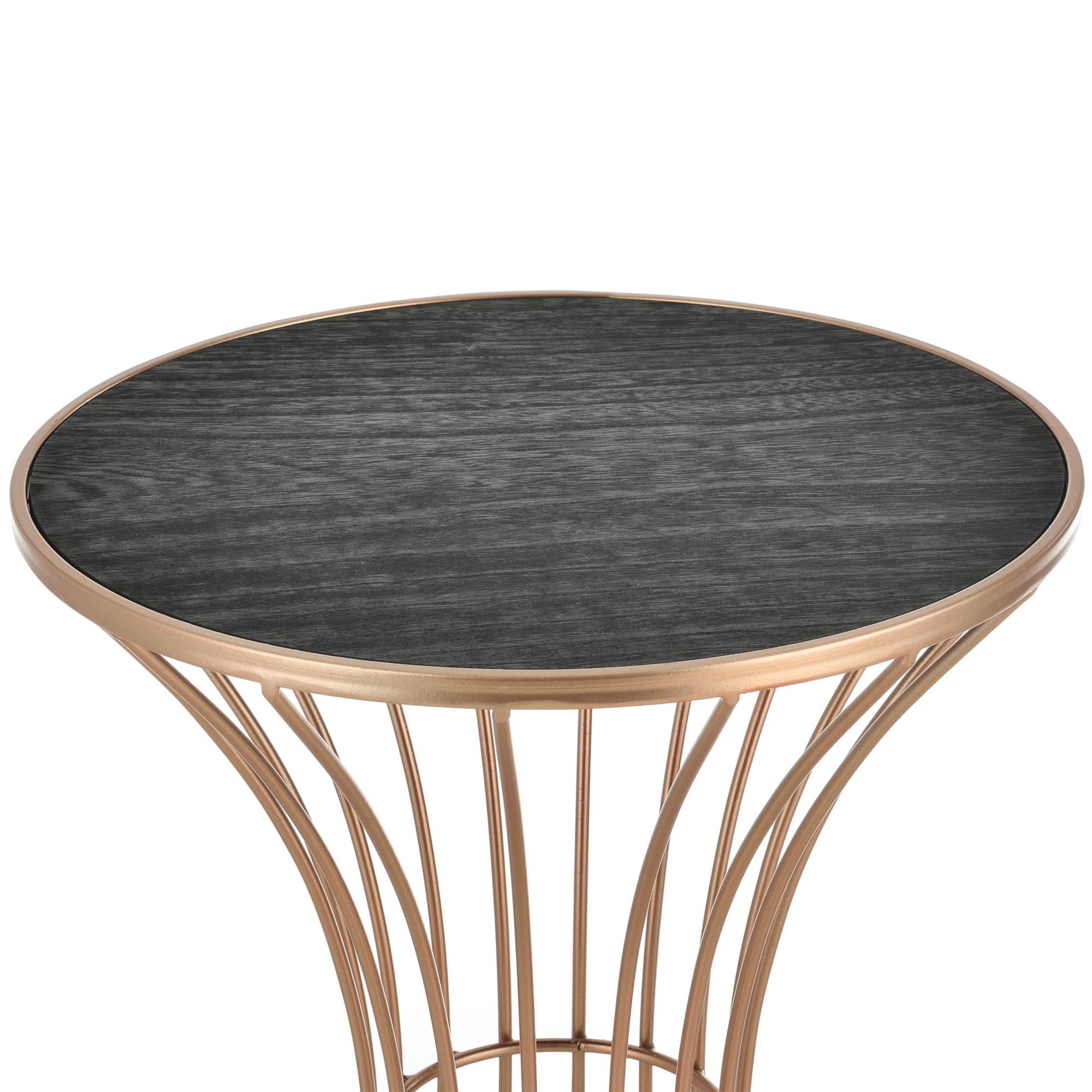 En Casa Table De Salon En Forme Sablier Metal Mdf Couleur Cuivre Noir 55 5 Cm Ebay