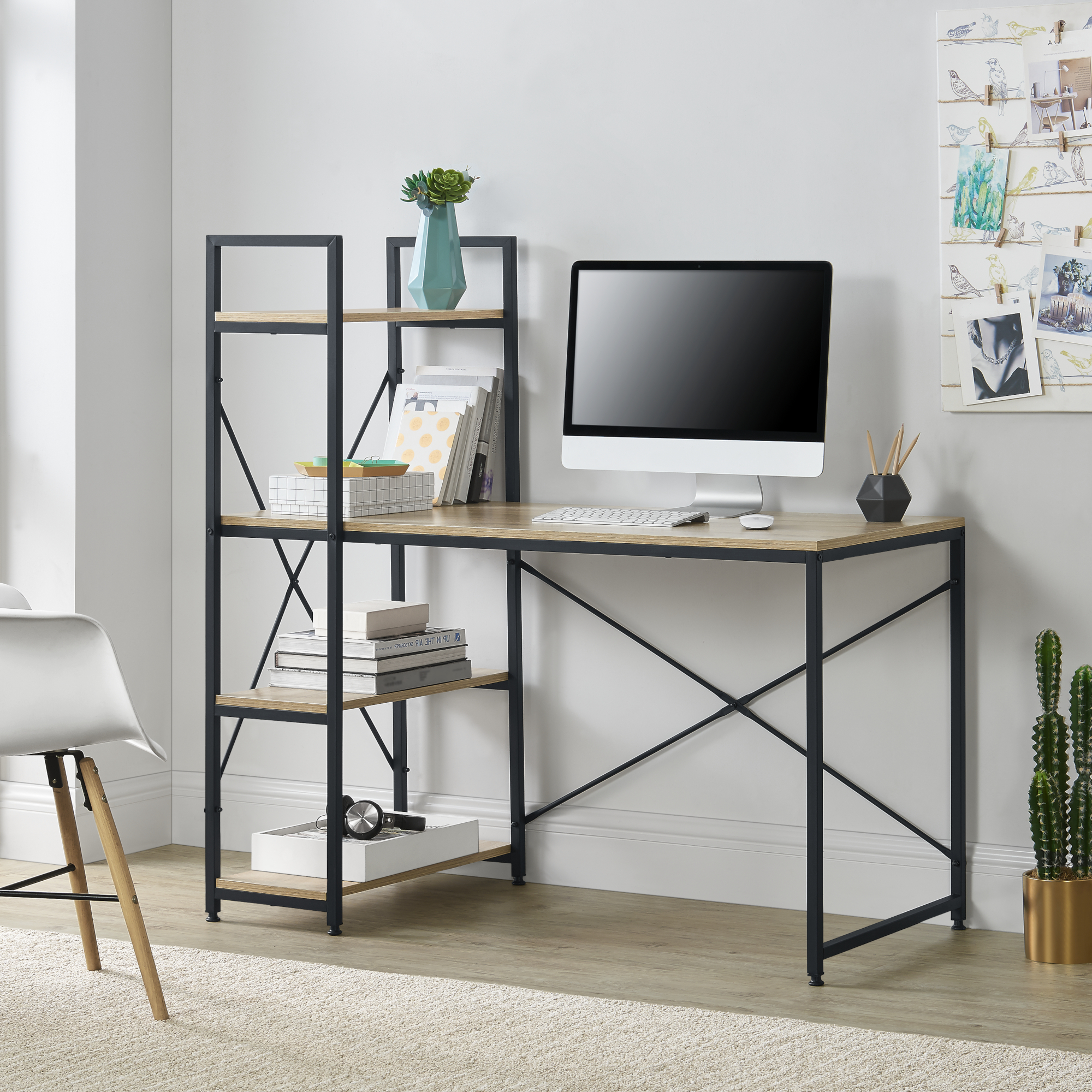 Elegante Schreibtisch Bürotisch Mit Bücherregal Computertisch Arbeitstisch Eiche