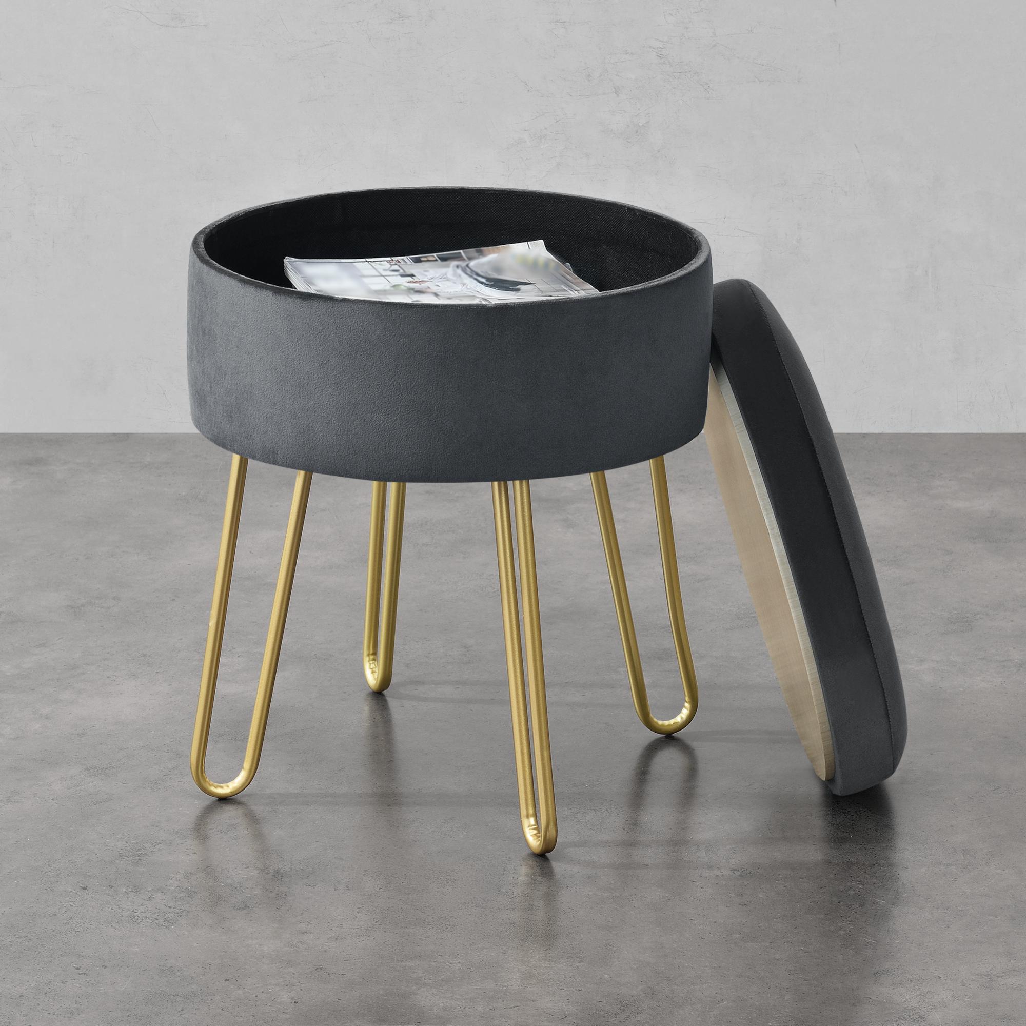 Sitzhocker Strickhocker mit Standfüßen Holzfuß 45 cm Standhocker Hellgrau HG