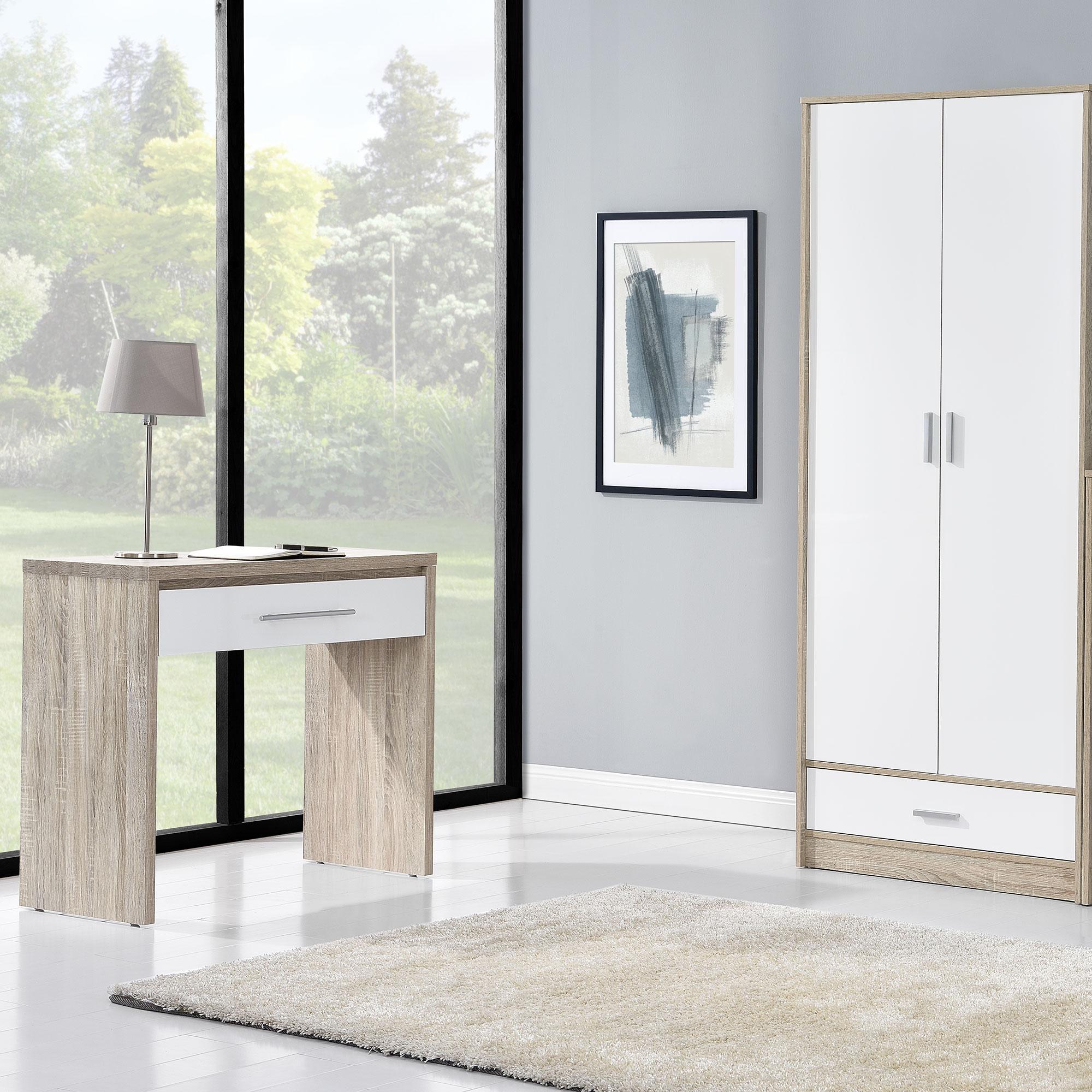 schreibtisch computer tisch holztisch eiche weiss b ro schublade ebay. Black Bedroom Furniture Sets. Home Design Ideas