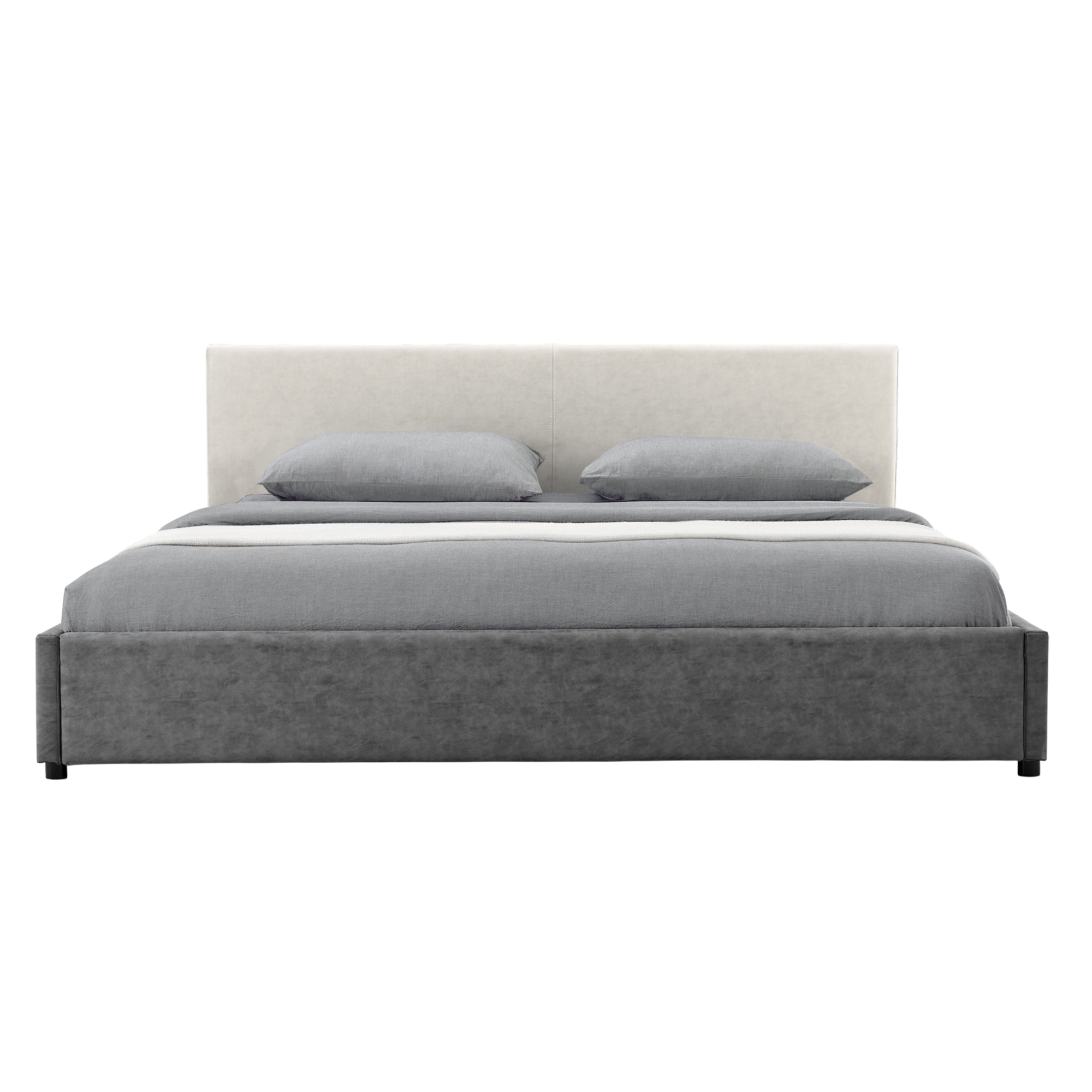 my bed upholstered bed mattress 180x200cm white grey leatherette double bed ebay. Black Bedroom Furniture Sets. Home Design Ideas