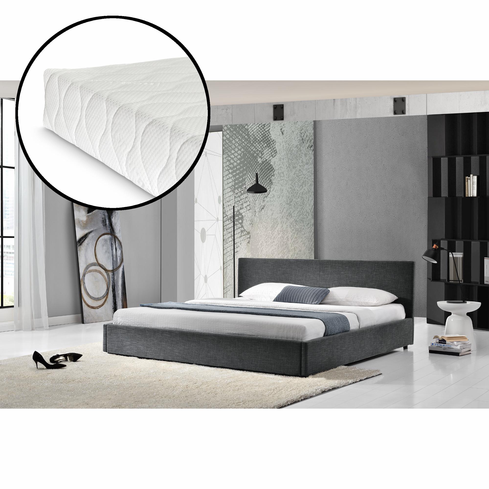 my bed lit capitonn matelas 140x200cm noir tissu lit double sommier ebay. Black Bedroom Furniture Sets. Home Design Ideas