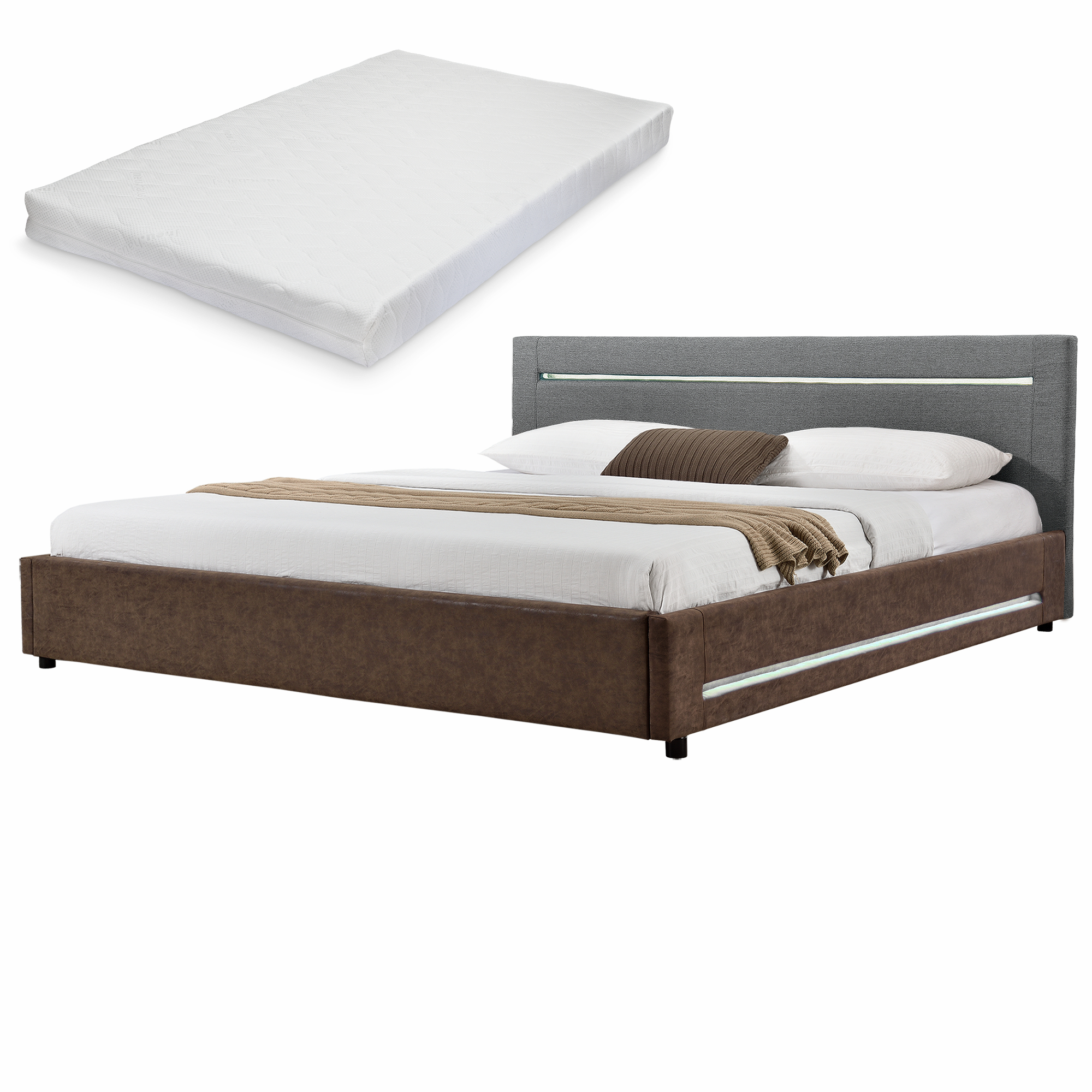 My Bed Led Polsterbett Matratze 180x200cm Grau Braun