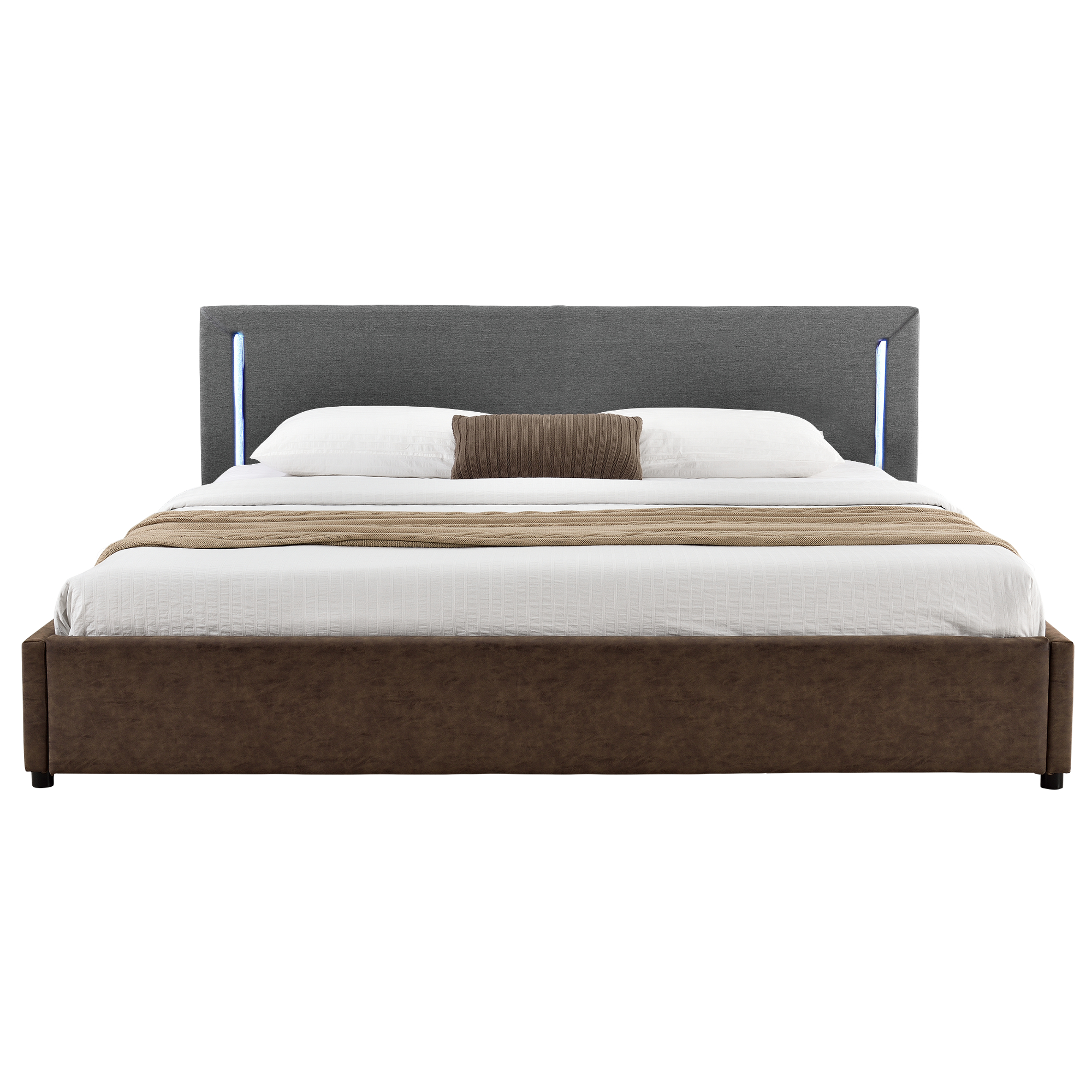 my bed led lit capitonn 140x200cm gris marron tissu. Black Bedroom Furniture Sets. Home Design Ideas