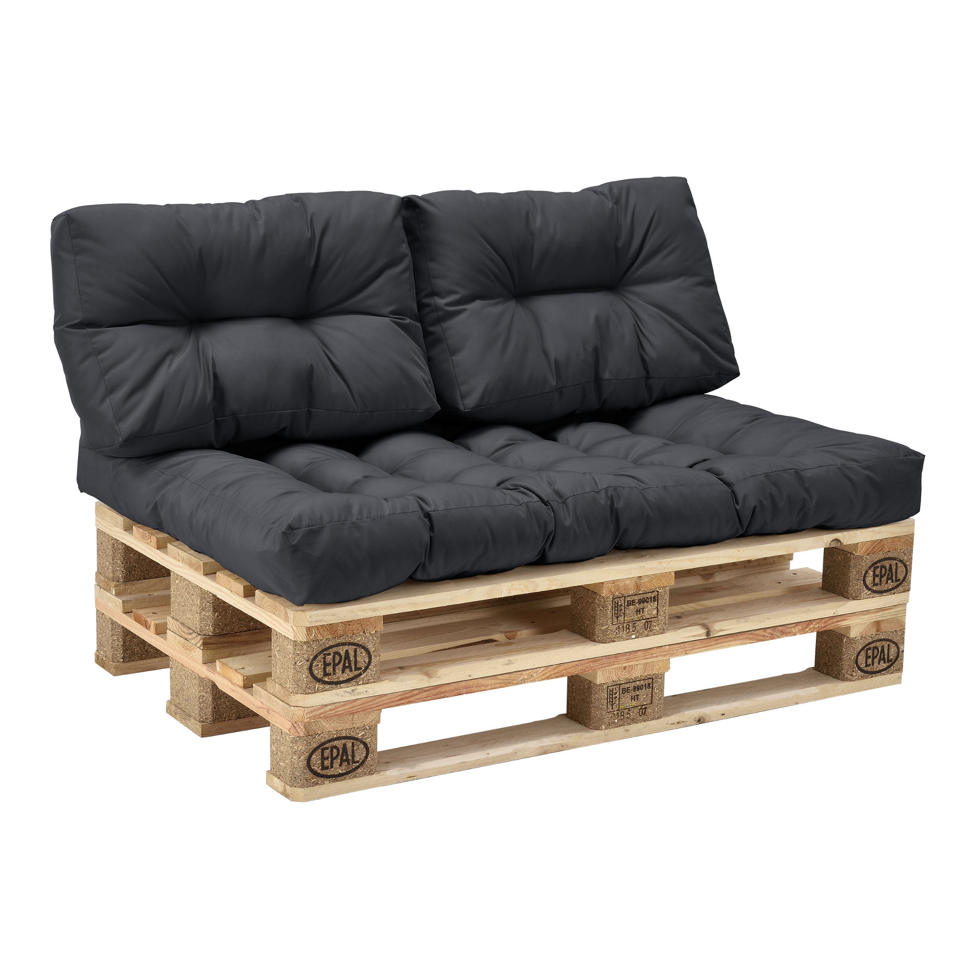 euro paletten sofa anthrazit 2er palettenpolster kissen r ckenlehne ebay. Black Bedroom Furniture Sets. Home Design Ideas