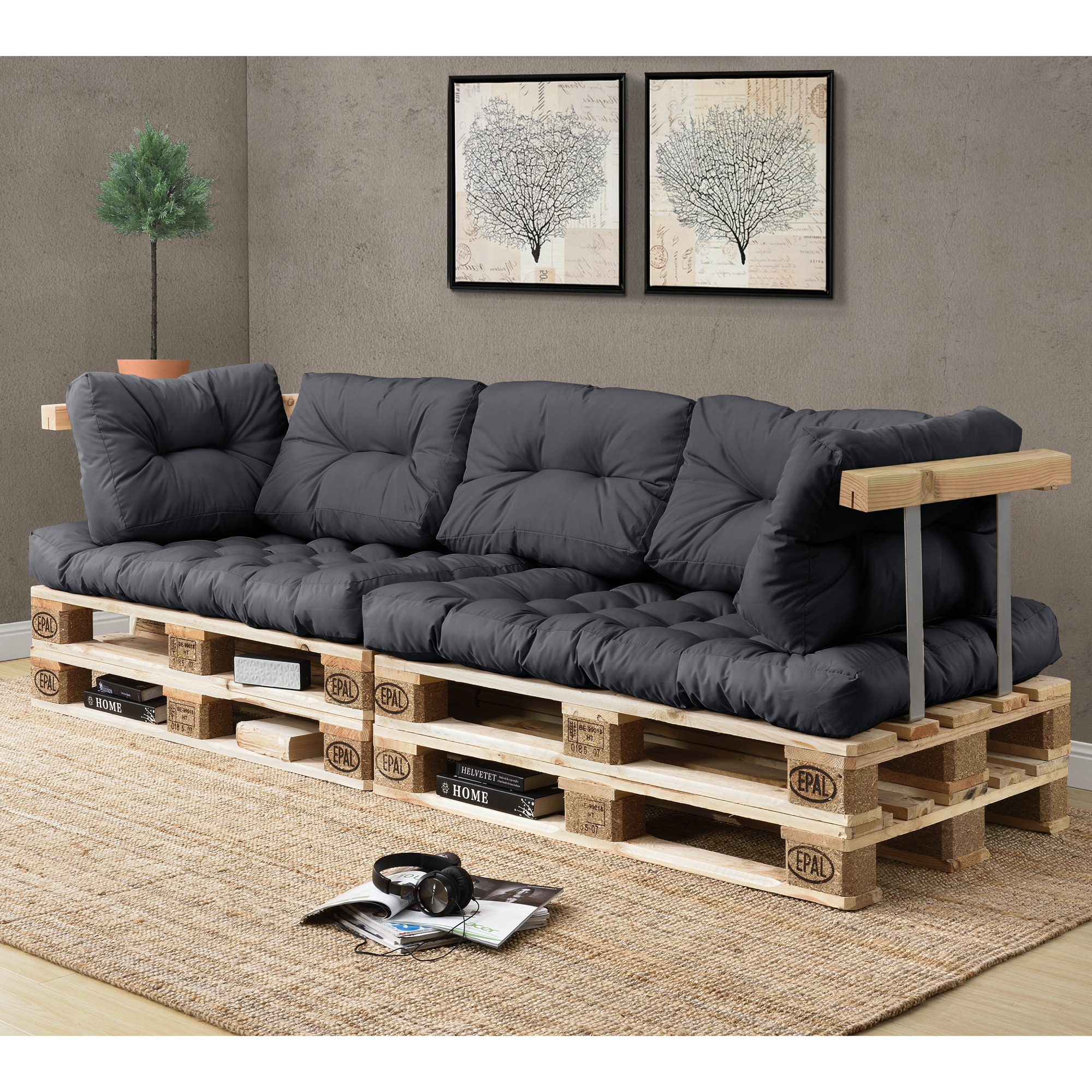 pallet cushions in outdoor pallets cushion sofa. Black Bedroom Furniture Sets. Home Design Ideas