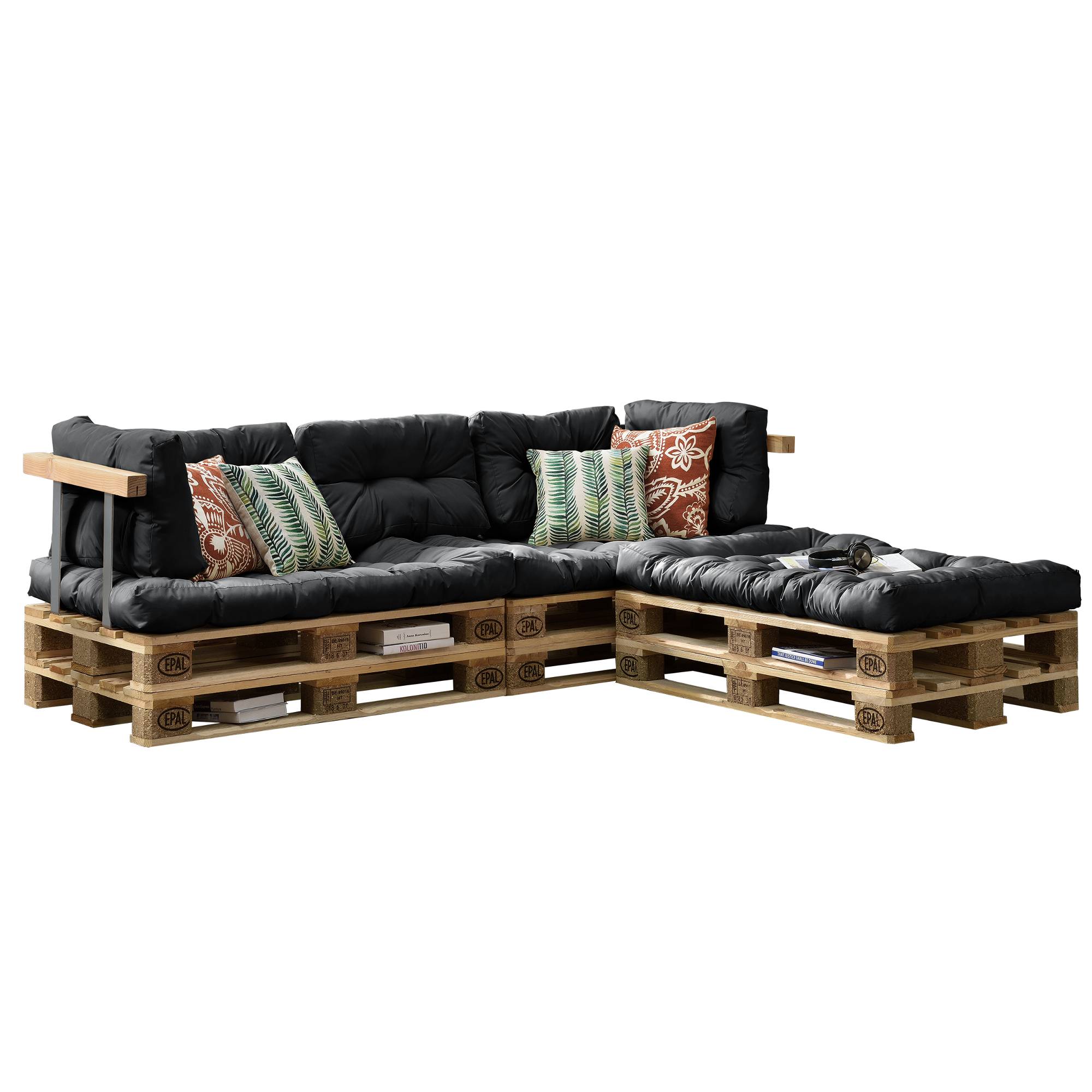 euro paletten sofa 3x sitz 5x r ckenkissen grau kissen auflage ebay. Black Bedroom Furniture Sets. Home Design Ideas