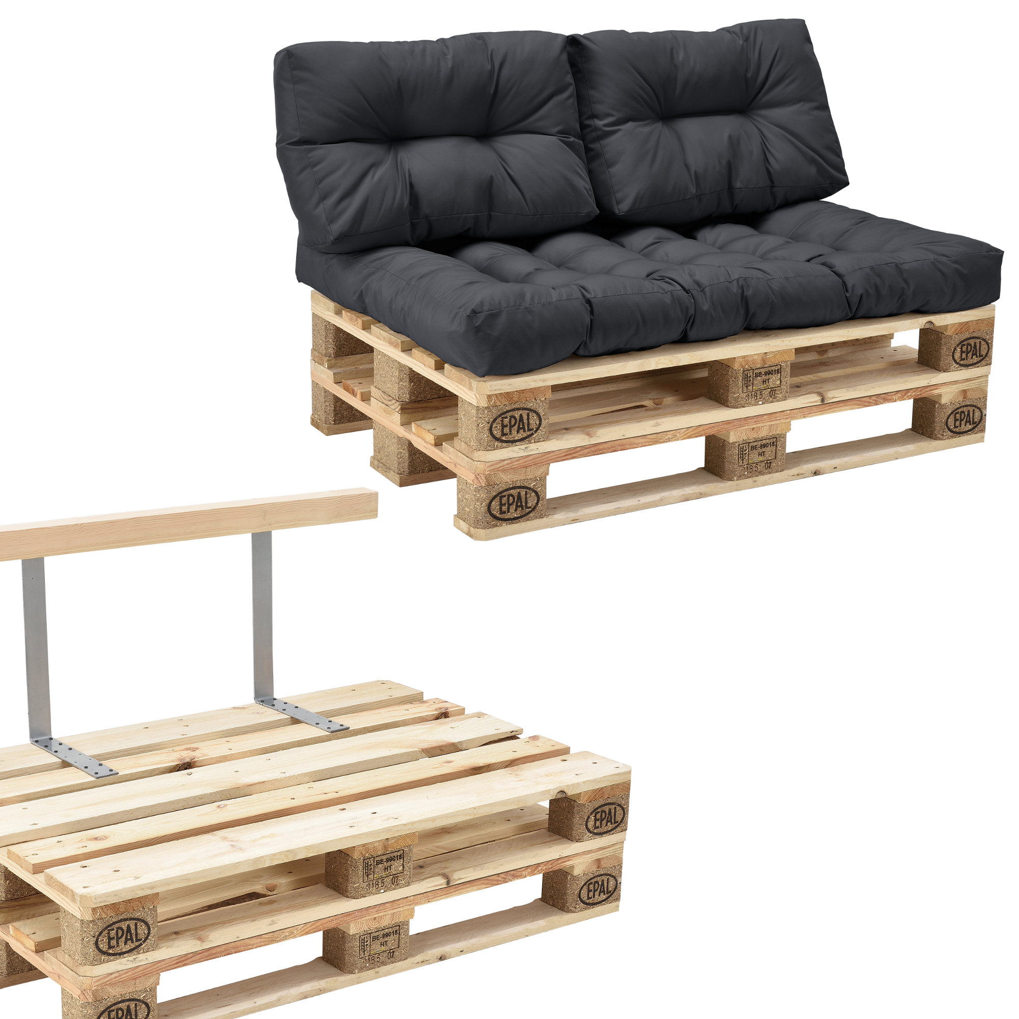 canap d 39 angle en palettes anthracite 2 coussins. Black Bedroom Furniture Sets. Home Design Ideas