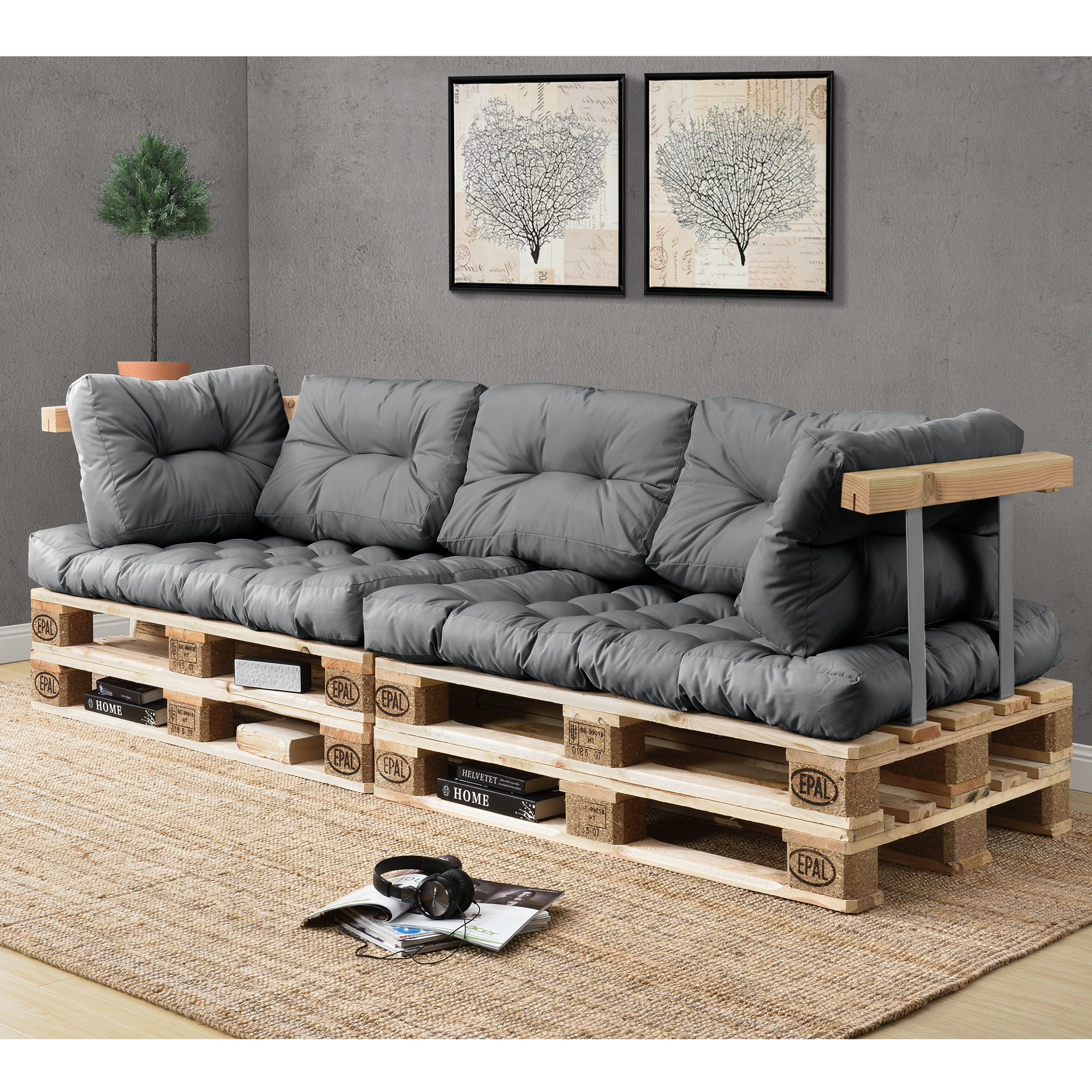 euro paletten sofa 7x sitz r ckenkissen hell grau kissen auflage ebay. Black Bedroom Furniture Sets. Home Design Ideas