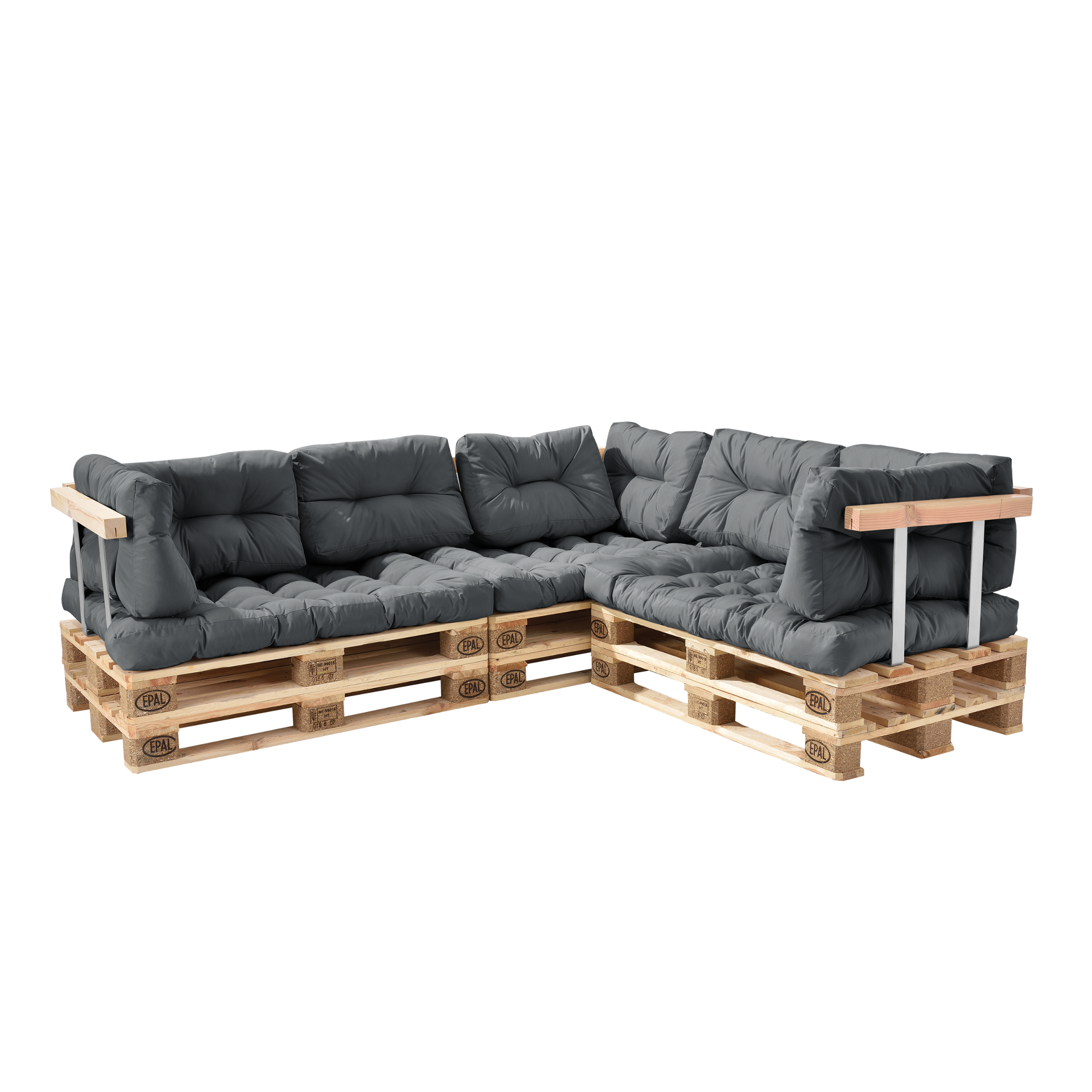 euro paletten sofa hellgrau ecksofa mit paletten polster kissen lehnen ebay. Black Bedroom Furniture Sets. Home Design Ideas