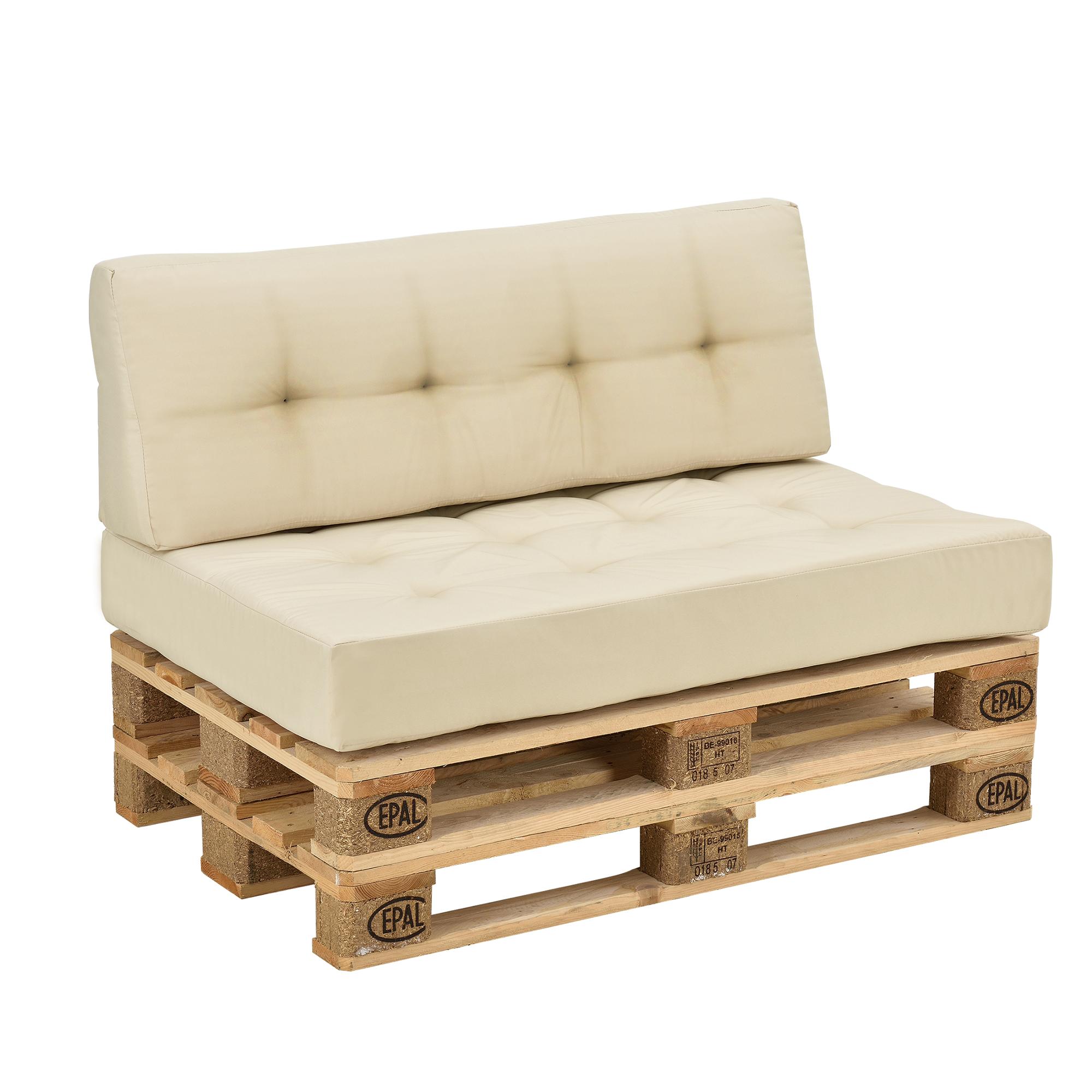 euro paletten sofa 2x sitz r ckenkissen beige creme kissen auflage ebay. Black Bedroom Furniture Sets. Home Design Ideas