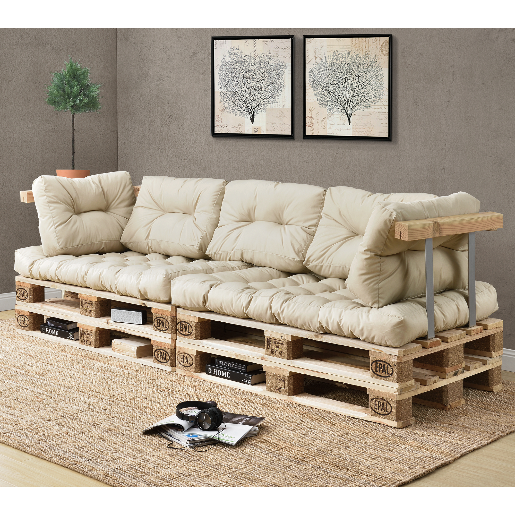 1x sitzpolster palettenkissen in outdoor. Black Bedroom Furniture Sets. Home Design Ideas