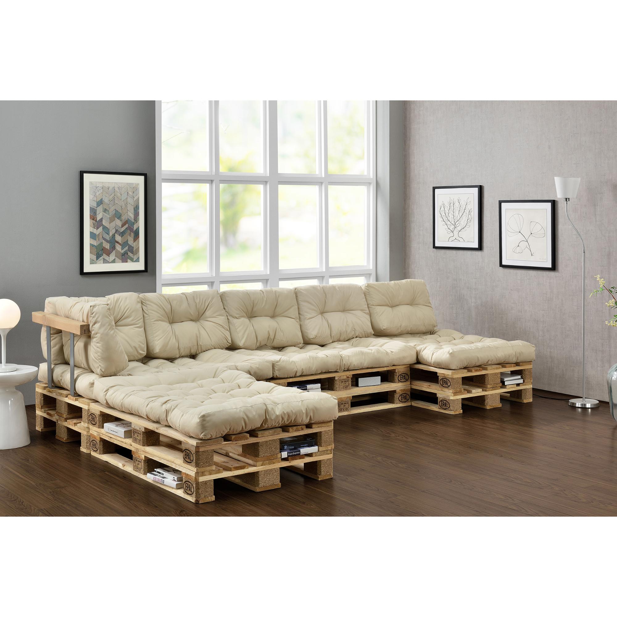 """Cuscini Beige Per Divano dettagli su [en.casa] """"divano palette euro"""" set beige adatto per dentro  cuscini imbottitura"""