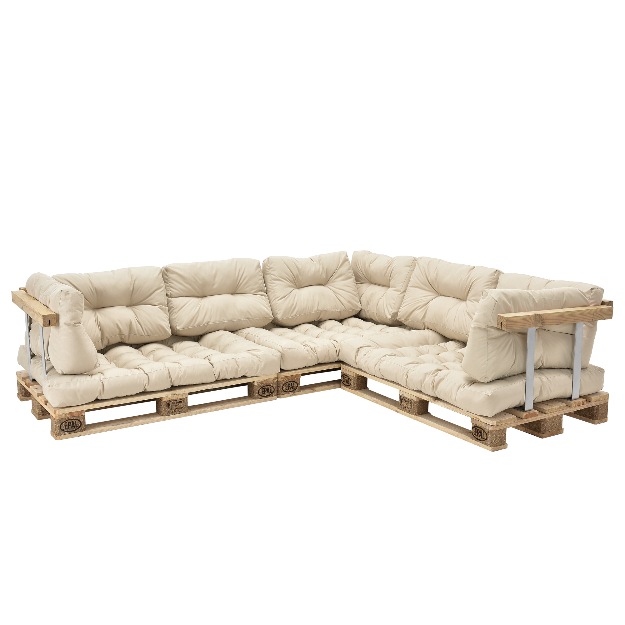 euro pallets sofa pillow beige corner sofa with pallets pads backrest ebay. Black Bedroom Furniture Sets. Home Design Ideas
