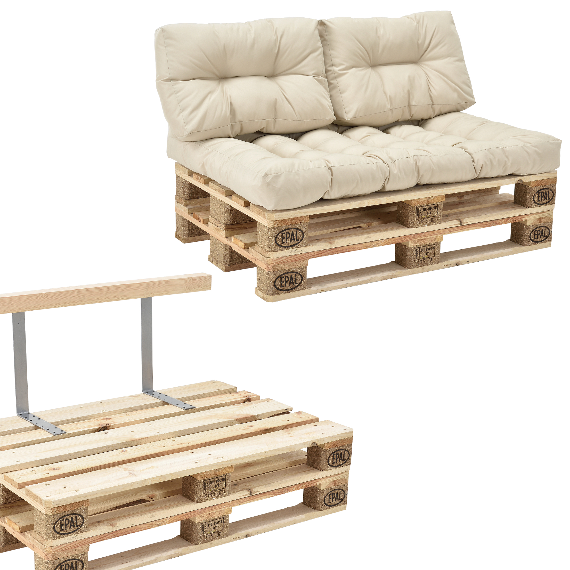 euro paletten sofa kissen beige 2 sitzer palettenpolster r ckenlehne ebay. Black Bedroom Furniture Sets. Home Design Ideas