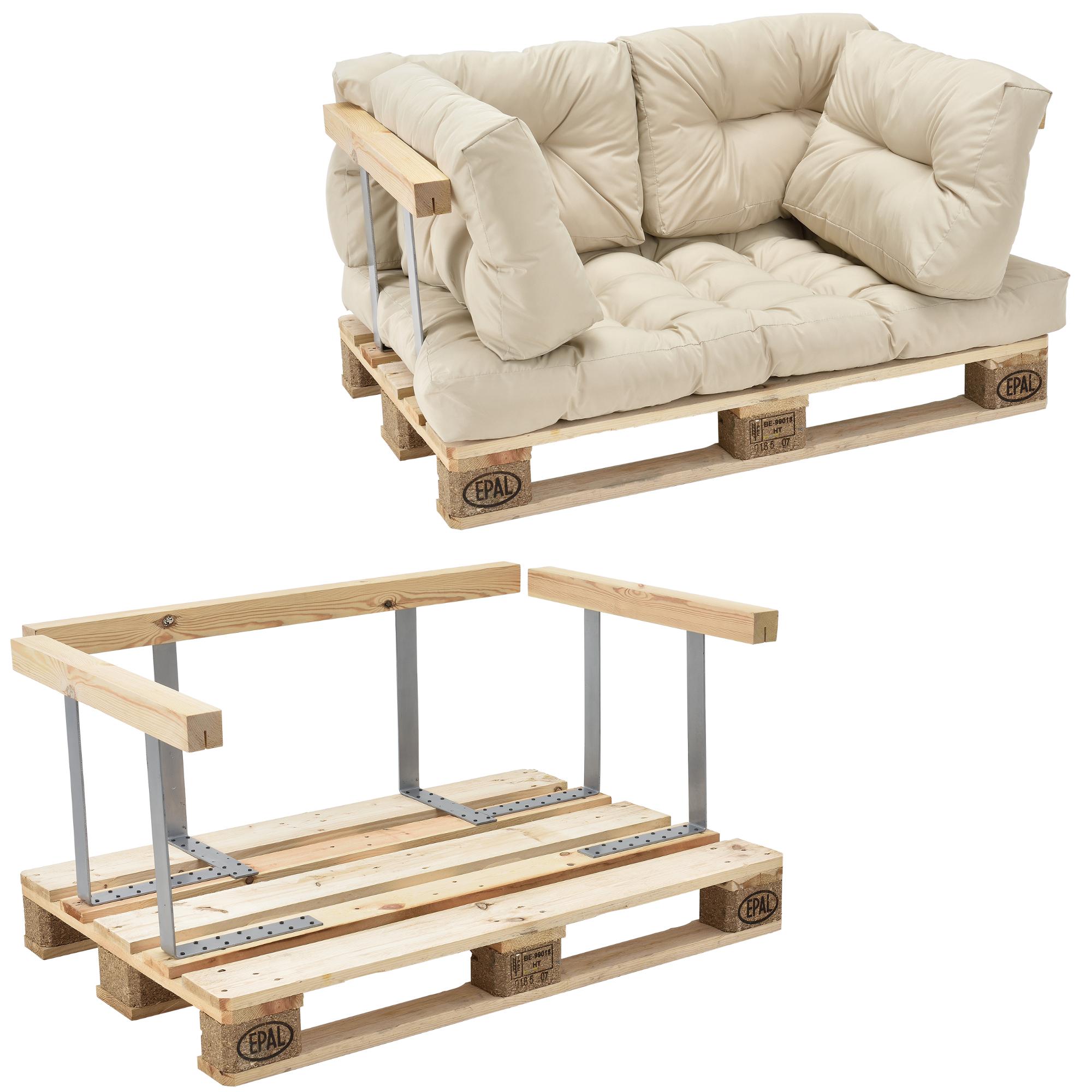 euro palettes canap coussin beige accoudoir 2 places rembourrage pour ebay. Black Bedroom Furniture Sets. Home Design Ideas
