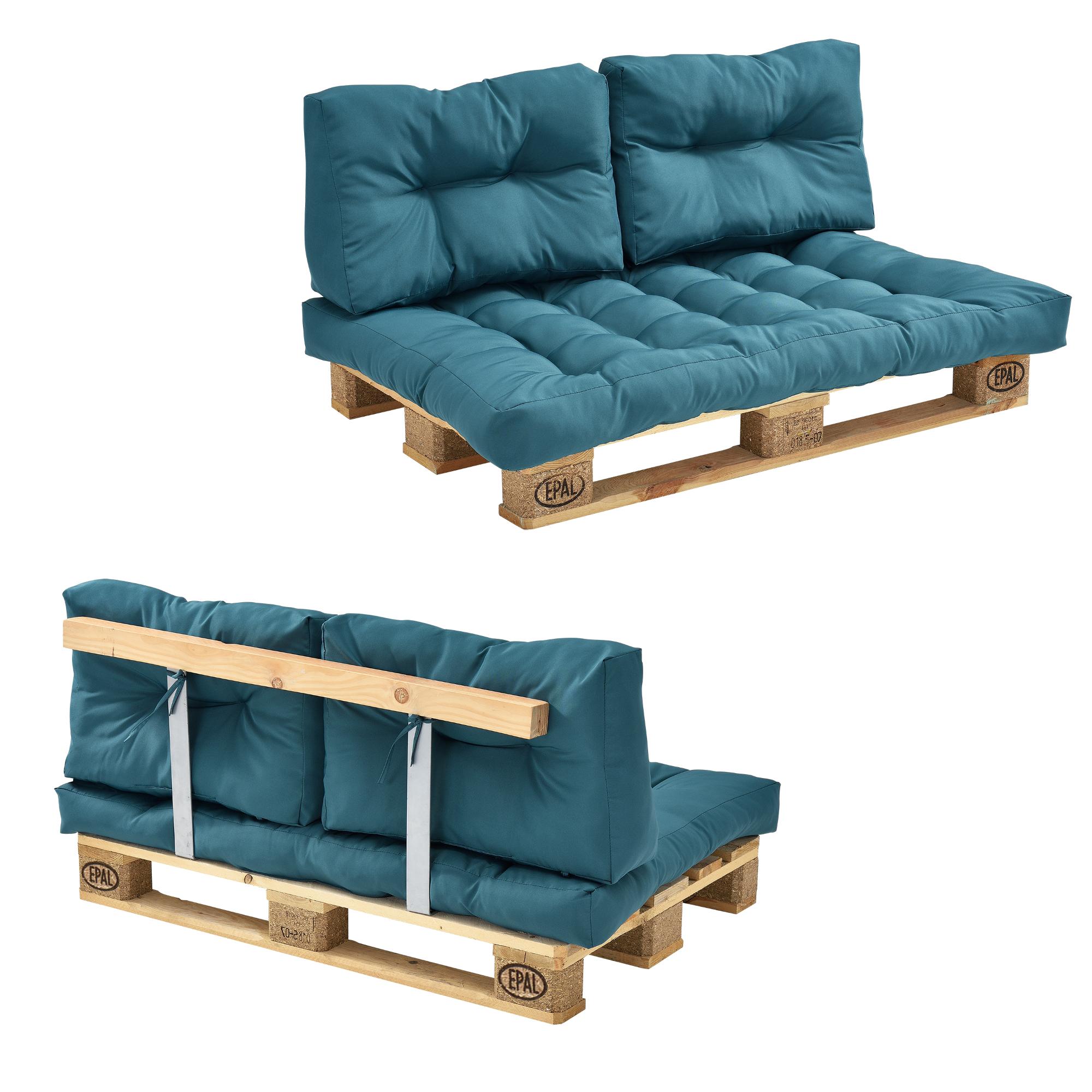 euro paletten sofa t rkis 2 sitzer mit paletten polster kissen lehnen 4059438105968 ebay. Black Bedroom Furniture Sets. Home Design Ideas
