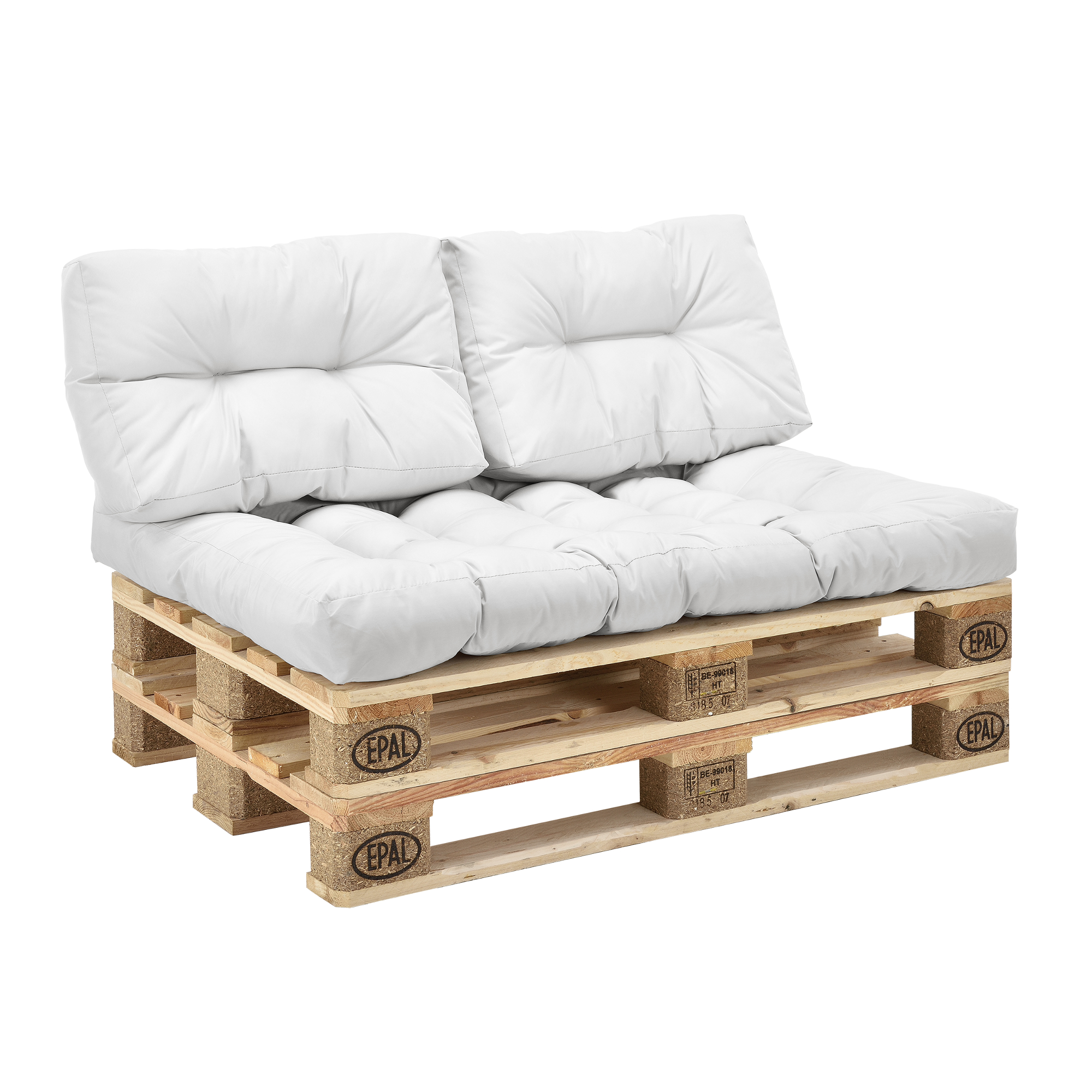En.casa 3 Indoor Set de 3 En.casa cojines para sofá-palé de asiento y respaldo blancos ca88cb