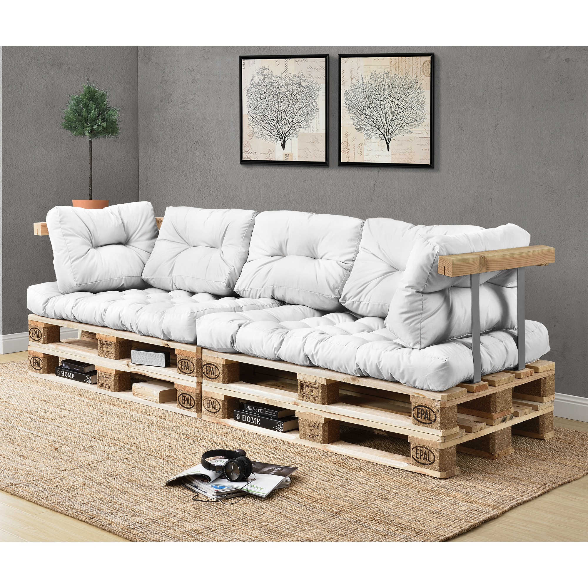 divano pallet bianco design casa creativa e mobili. Black Bedroom Furniture Sets. Home Design Ideas