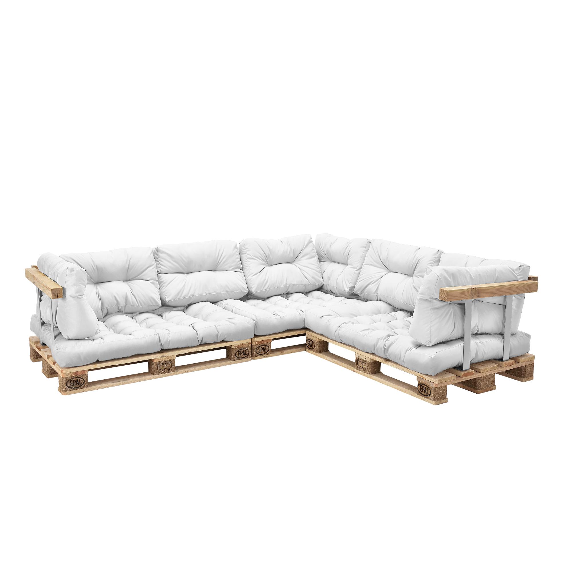 canap d angle en palettes 11x coussins de. Black Bedroom Furniture Sets. Home Design Ideas