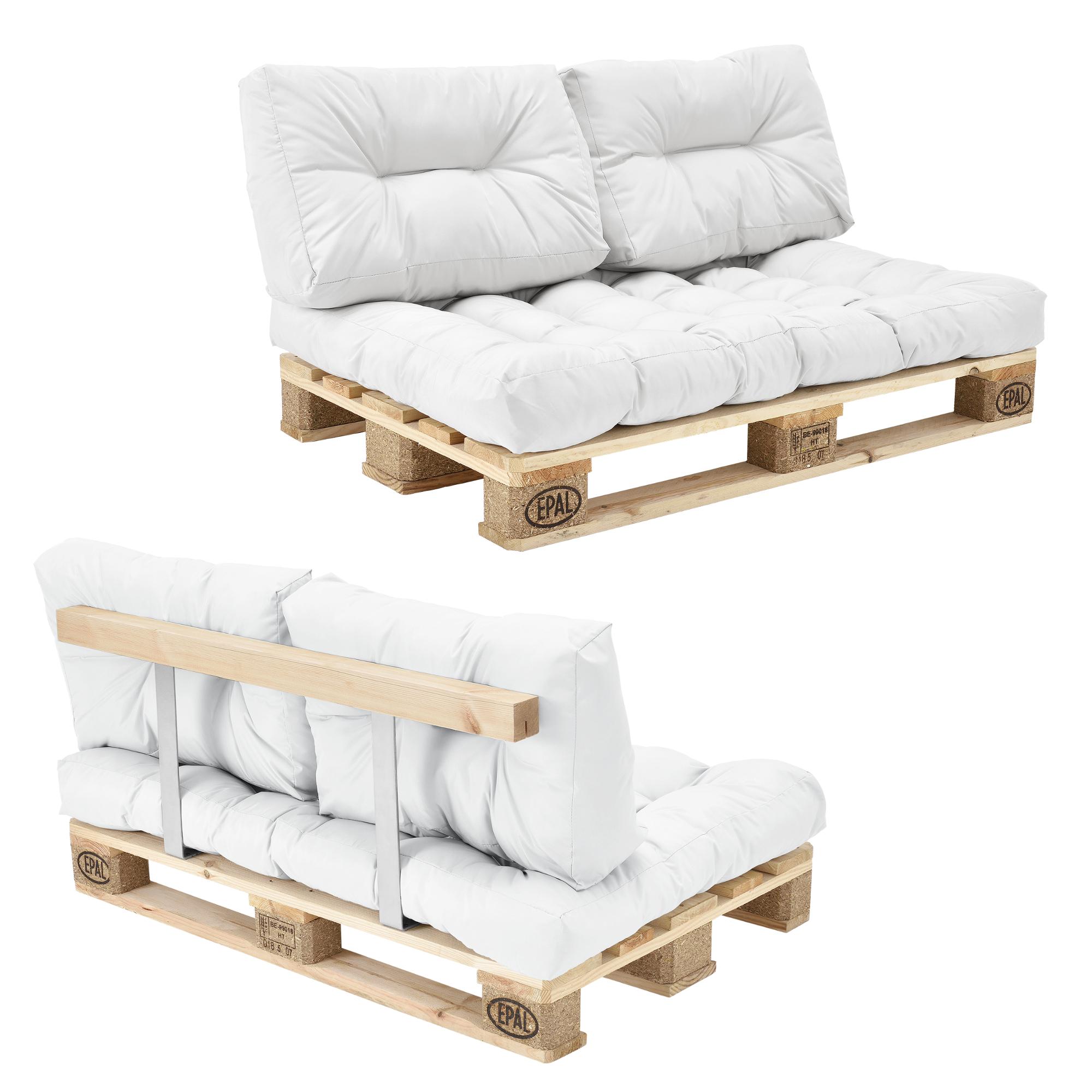 euro paletten sofa wei 2 sitzer mit paletten polster kissen lehnen ebay. Black Bedroom Furniture Sets. Home Design Ideas