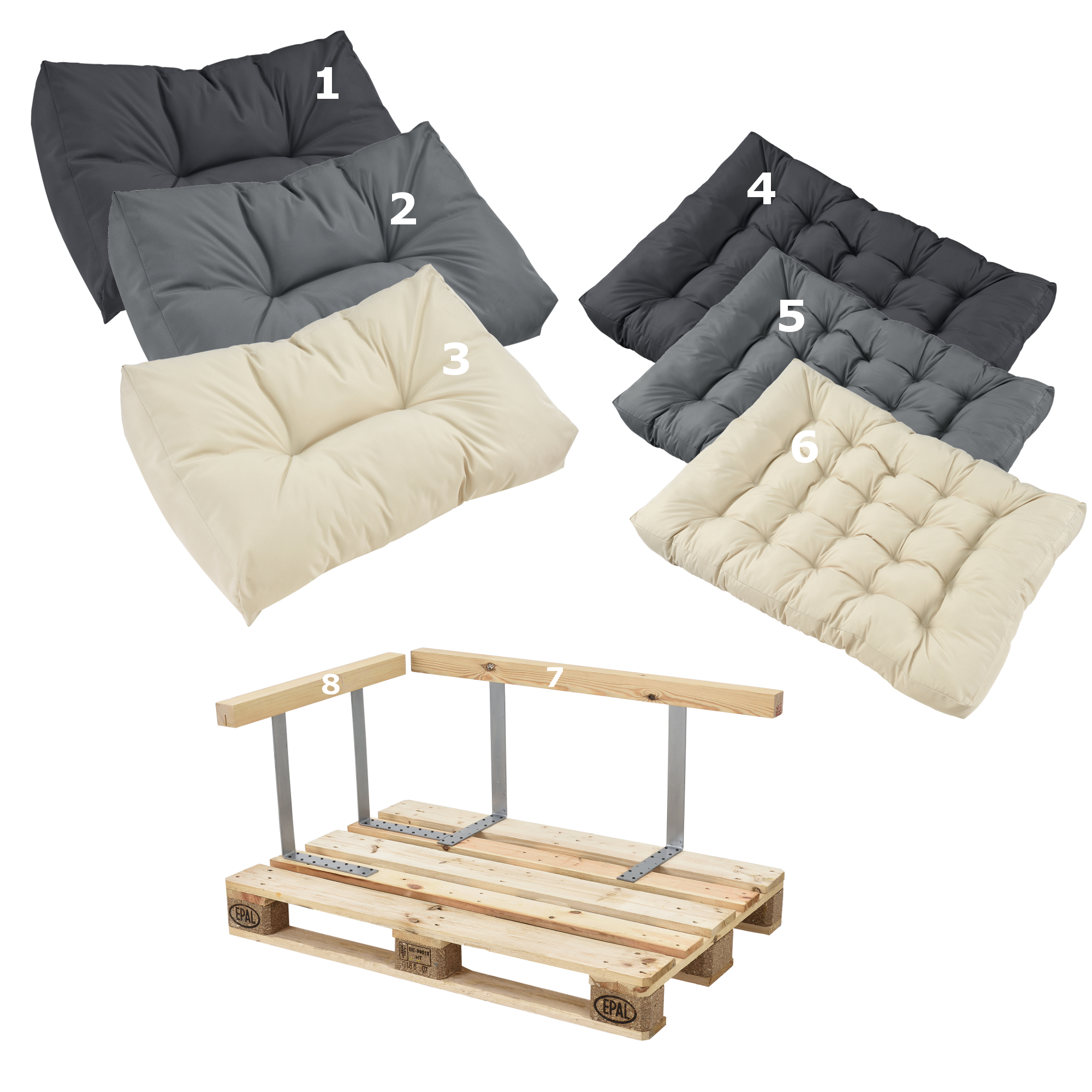 Pallet cushions in outdoor pallets cushion sofa for Sofa de palets exterior