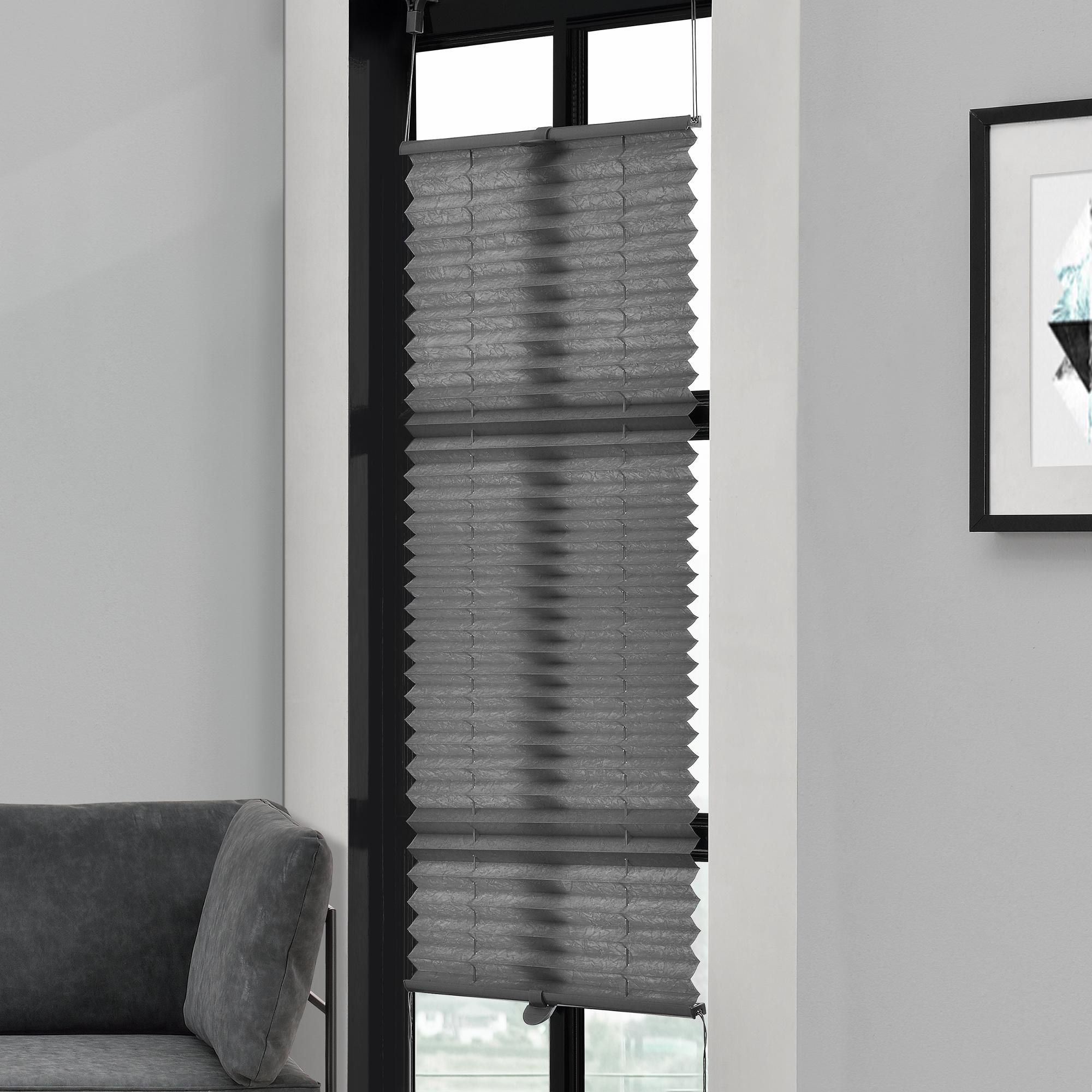 Klemmfix Plissee - 60 x 150 cm - šedá - ochrana proti slunci a světlu - neprůhledné - bez otvorů