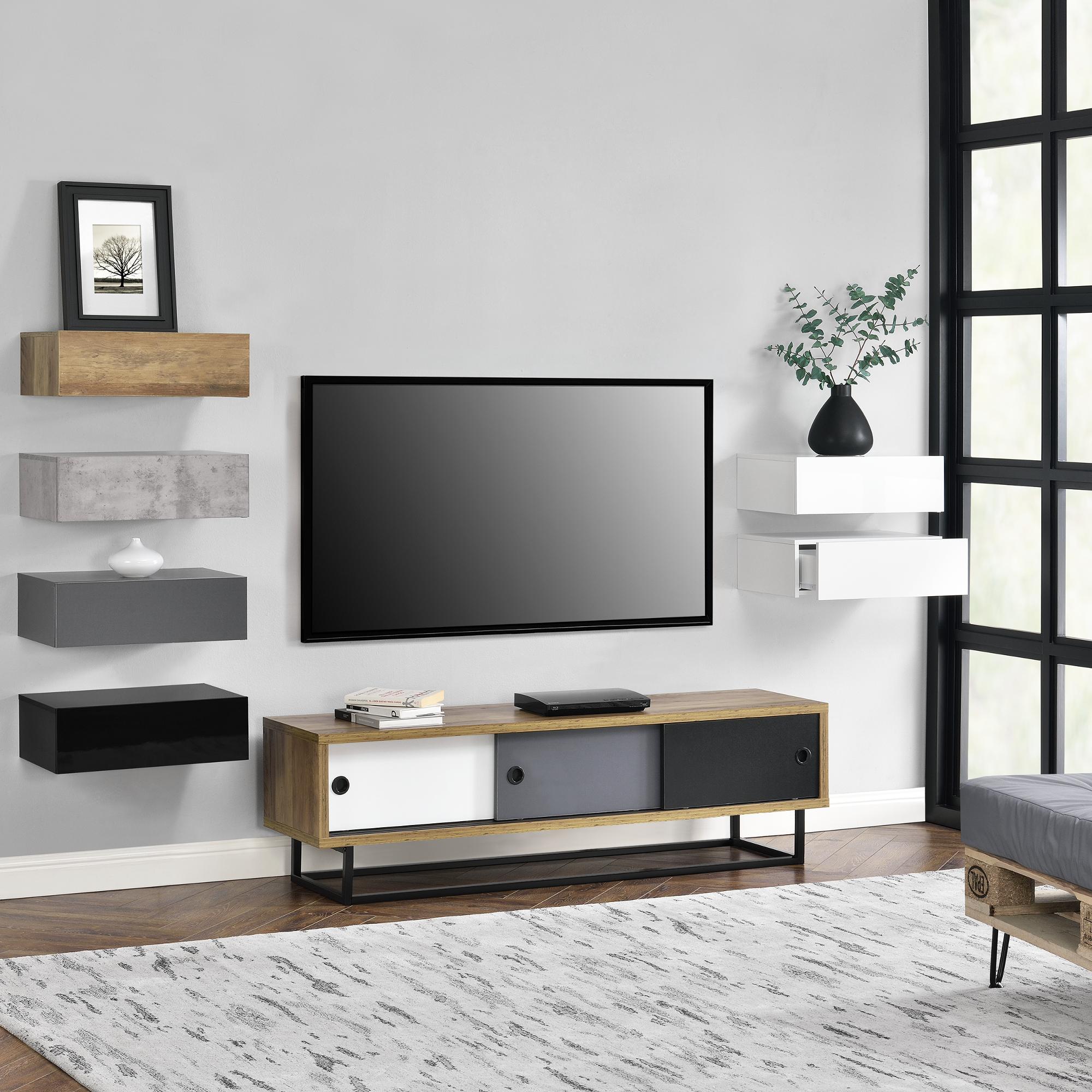 lowboard mit schiebet ren fernsehtisch kommode tv schrank sideboard 4251155588806 ebay. Black Bedroom Furniture Sets. Home Design Ideas