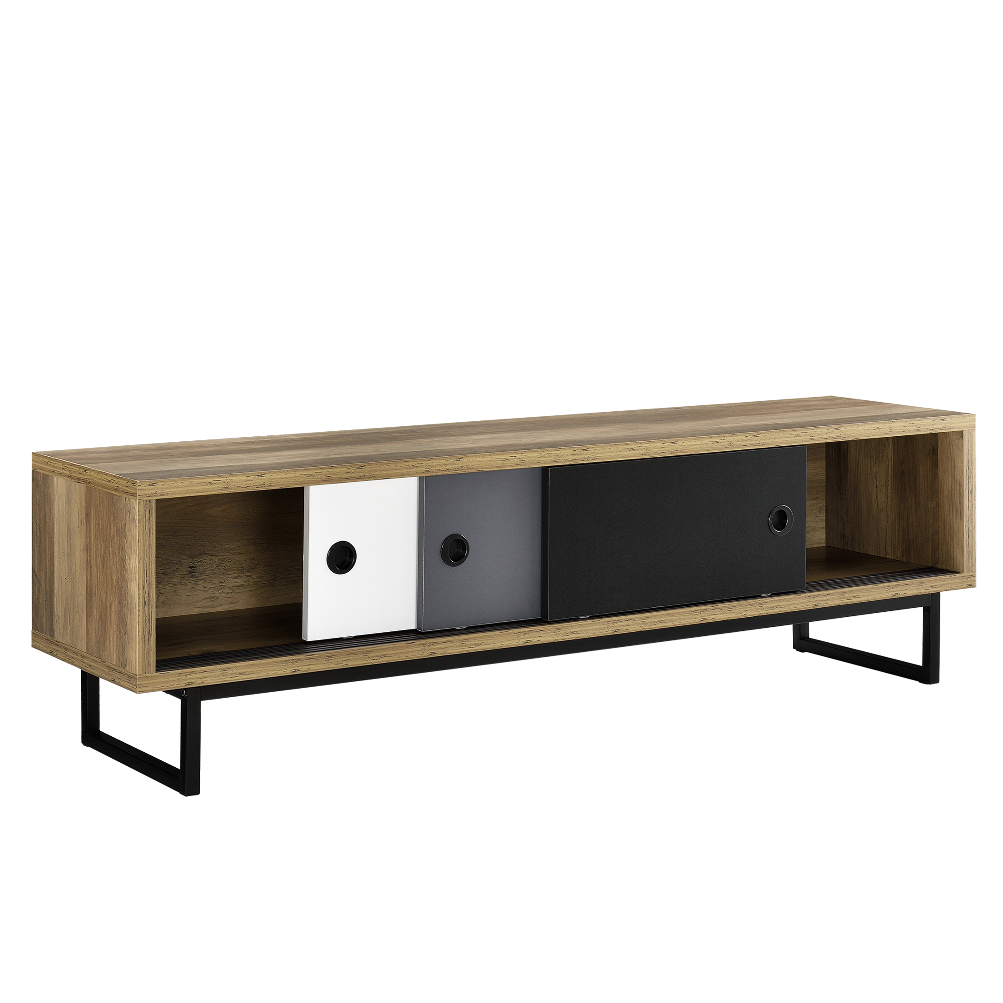 lowboard mit schiebet ren fernsehtisch kommode tv schrank sideboard ebay. Black Bedroom Furniture Sets. Home Design Ideas