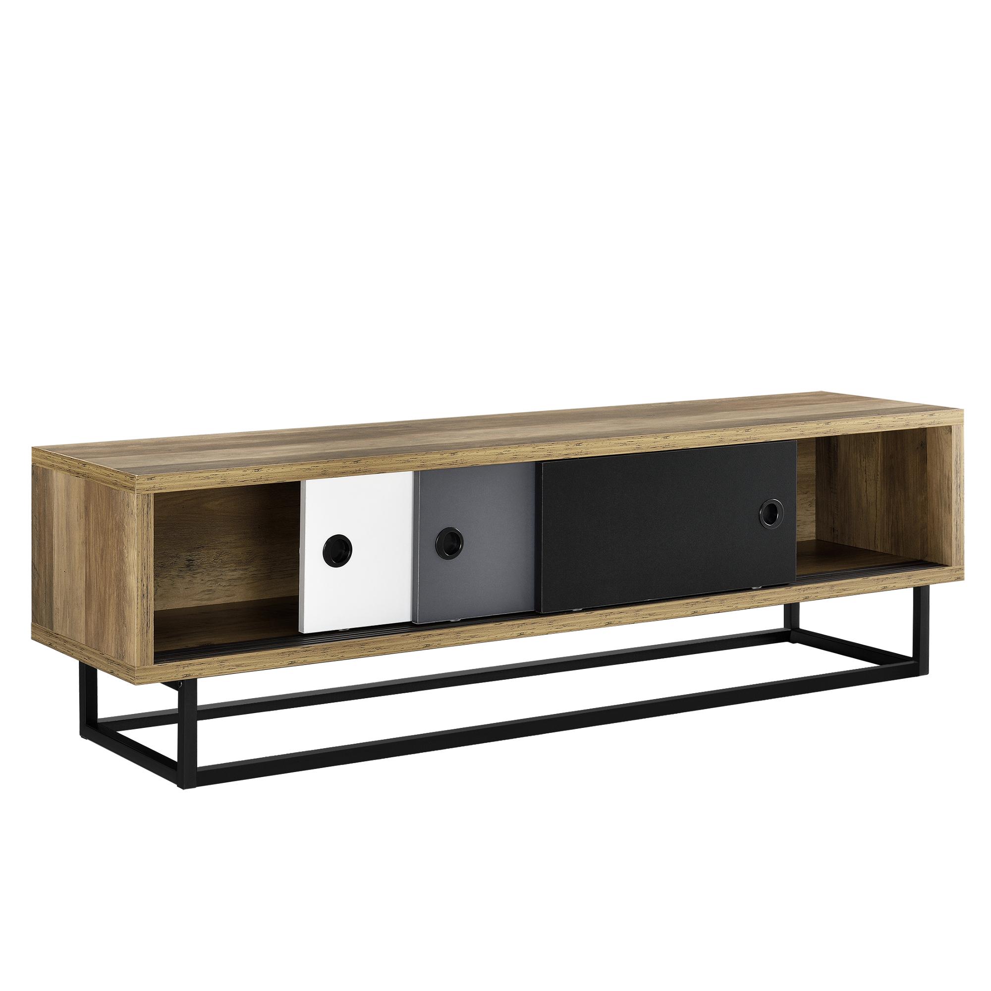 en.casa]® Lowboard mit Schiebetüren Fernsehtisch Kommode TV Schrank ...