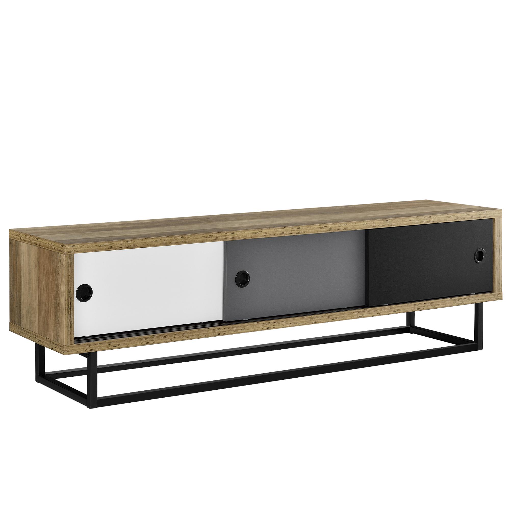lowboard mit schiebet ren fernsehtisch kommode tv schrank sideboard ebay. Black Bedroom Furniture Sets. Home Design Ideas