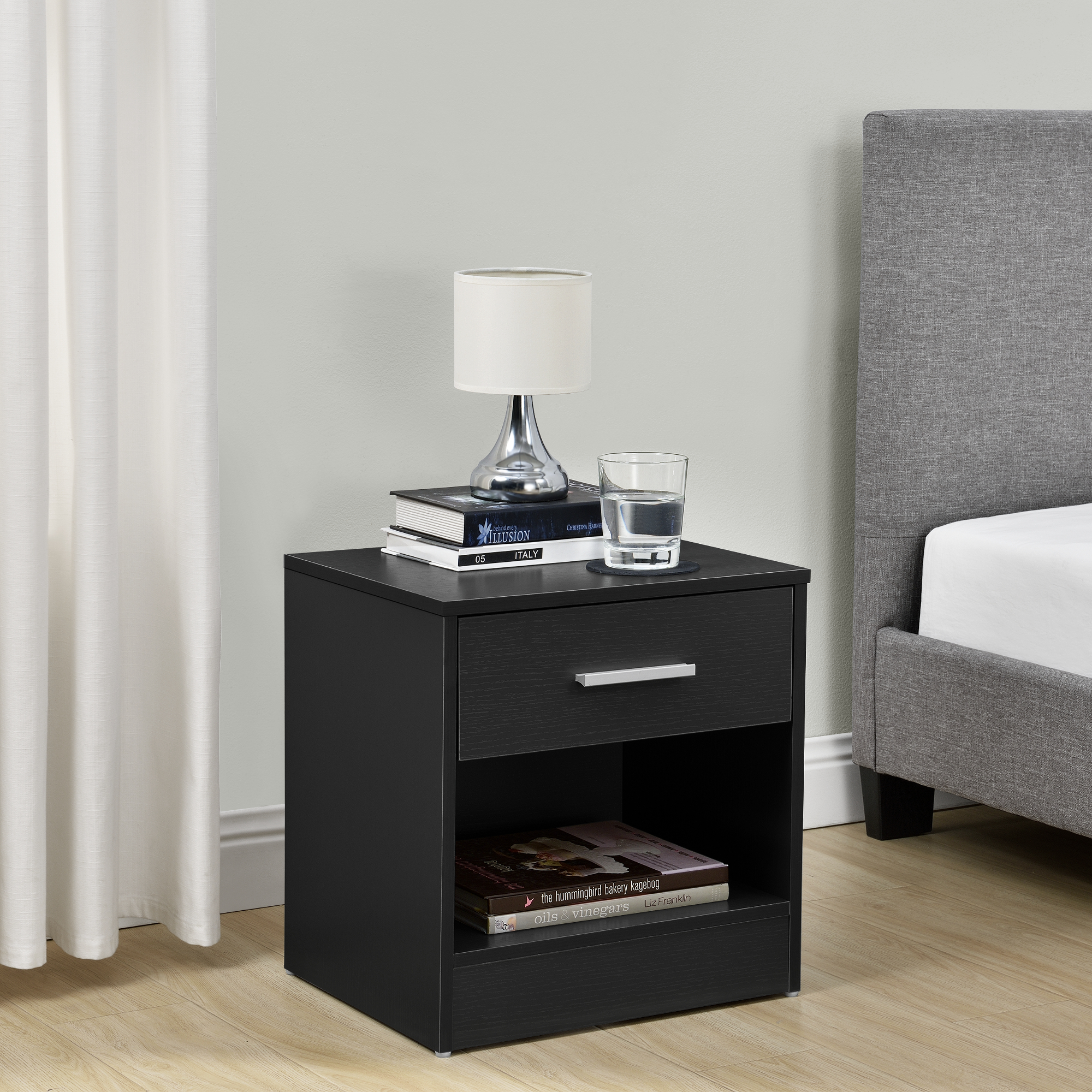 table de chevet tiroir noir commode table d. Black Bedroom Furniture Sets. Home Design Ideas
