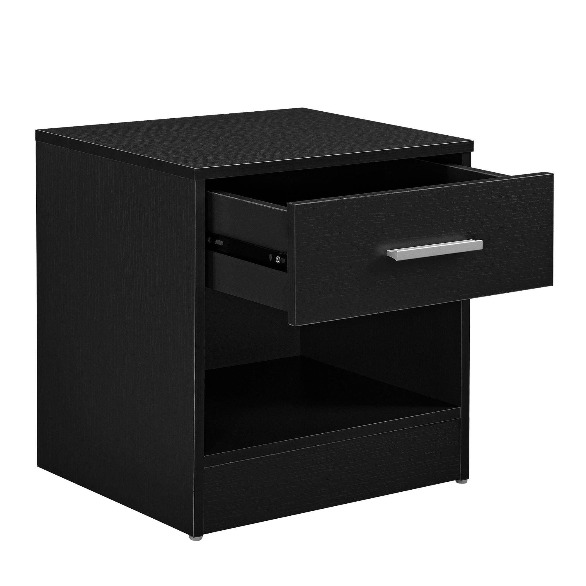 nachttisch mit schublade schwarz nachtkommode beistelltisch ablage ebay. Black Bedroom Furniture Sets. Home Design Ideas