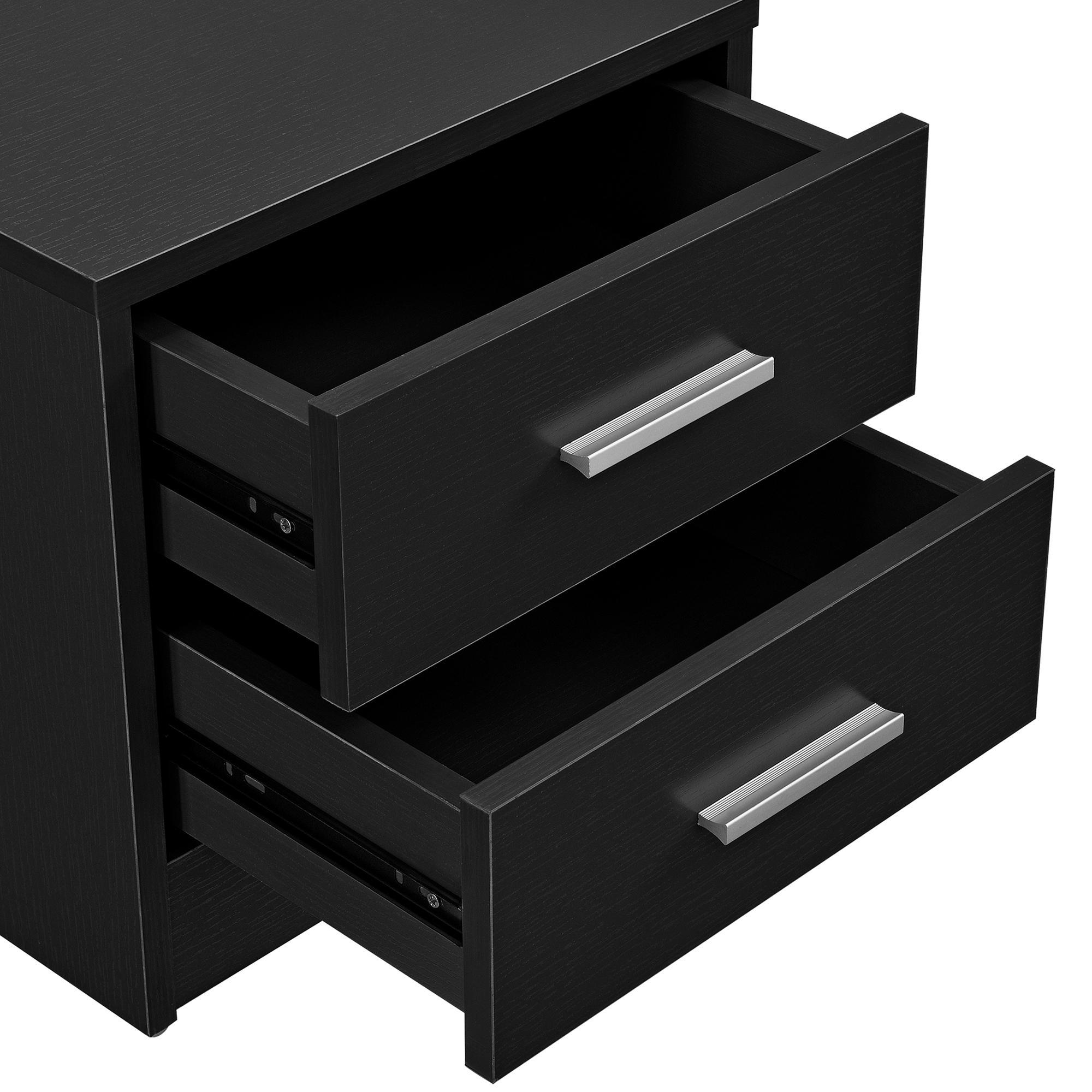 Mesilla de noche mesita con 2 cajones negra mesa auxiliar moderna ebay - Mesilla de noche moderna ...