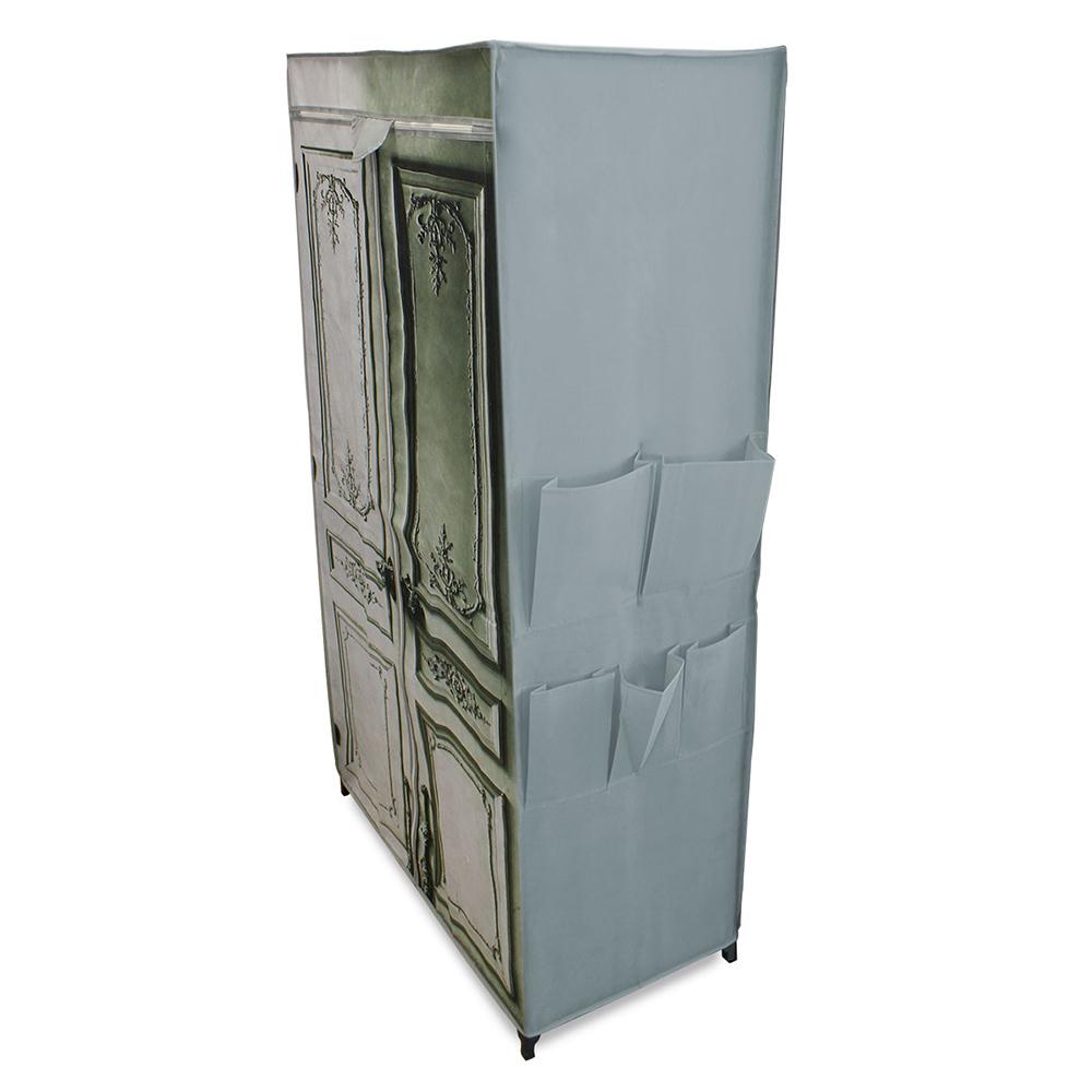 neu holz kleiderschrank 156x87x46cm stoff falt schrank wohnzimmer garderobe ebay. Black Bedroom Furniture Sets. Home Design Ideas