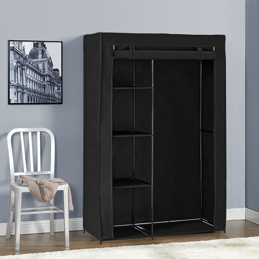 neu holz kleiderschrank 160x150 schwarz stoff falt. Black Bedroom Furniture Sets. Home Design Ideas