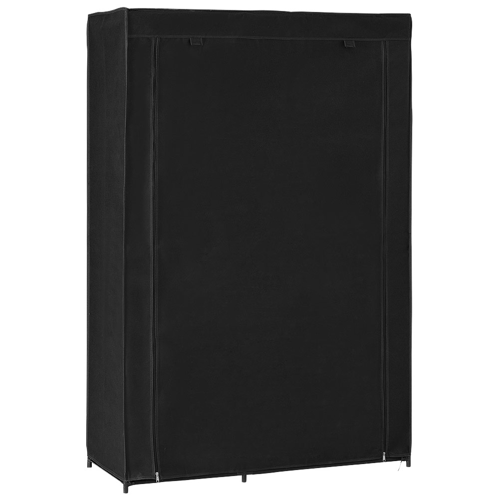 Neu holz kleiderschrank 160x150 schwarz stoff falt for Garderobe holz